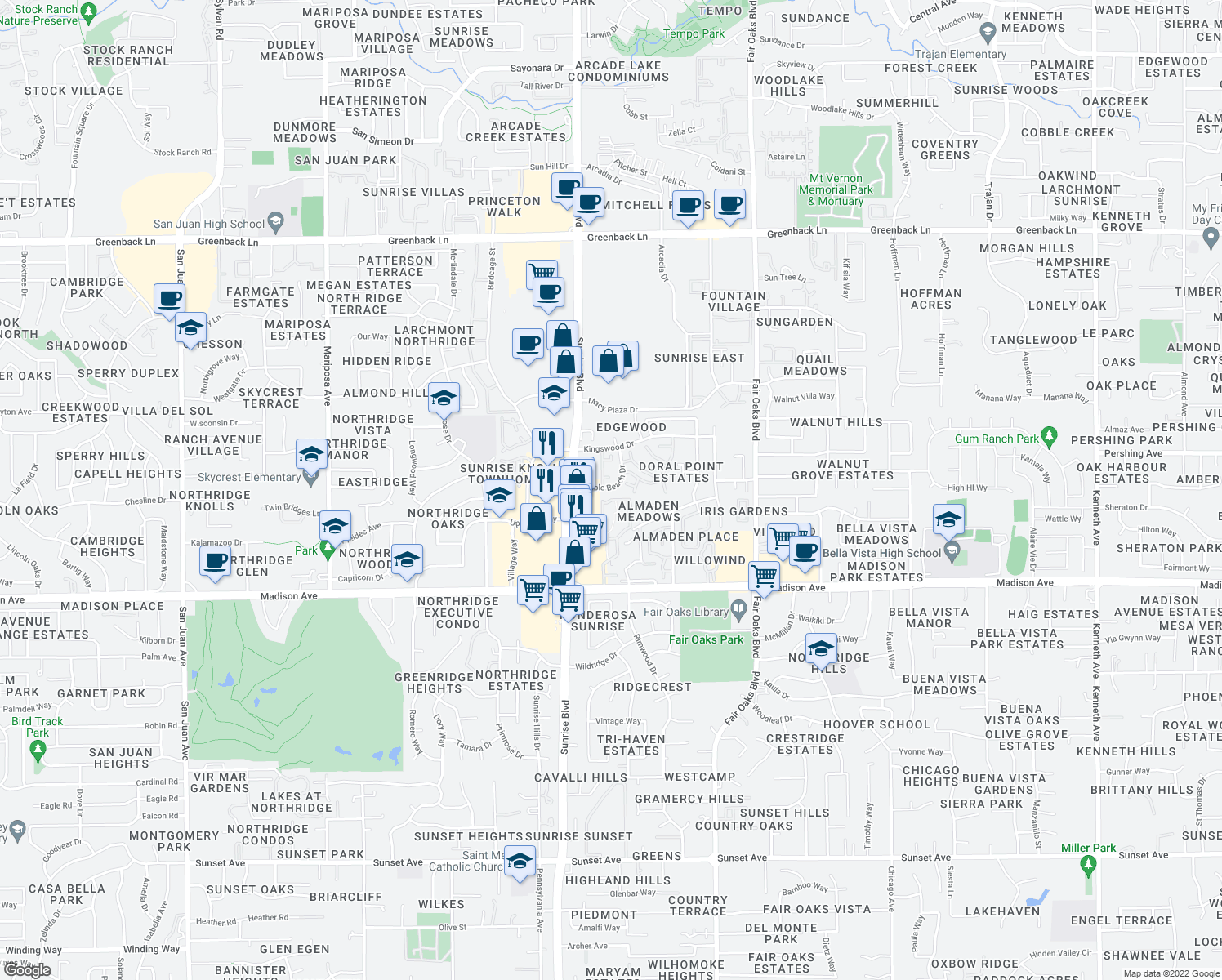 map of restaurants, bars, coffee shops, grocery stores, and more near 7944 Pebble Beach Drive in Citrus Heights