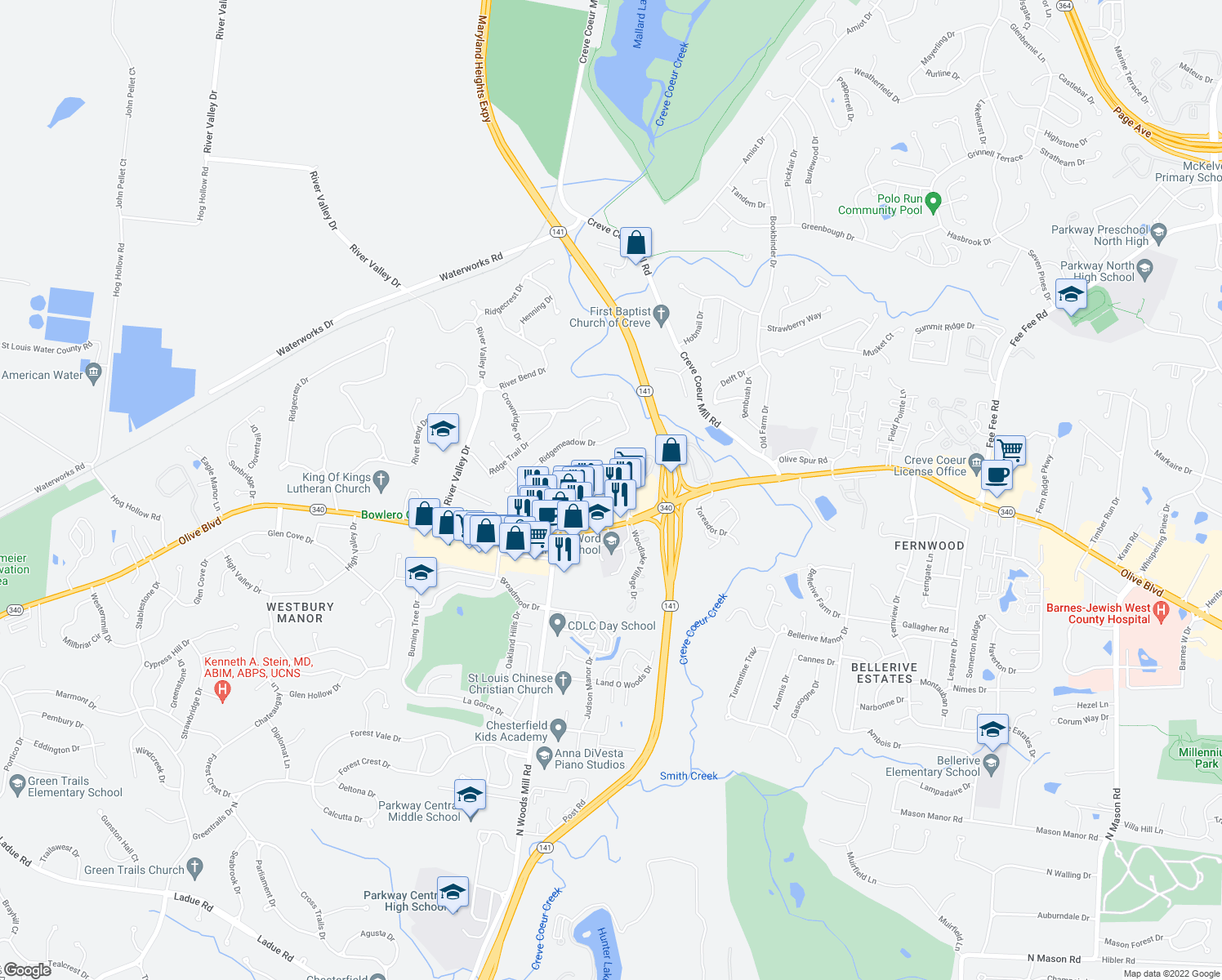 map of restaurants, bars, coffee shops, grocery stores, and more near 1260-1298 Woodchase Lane in Chesterfield