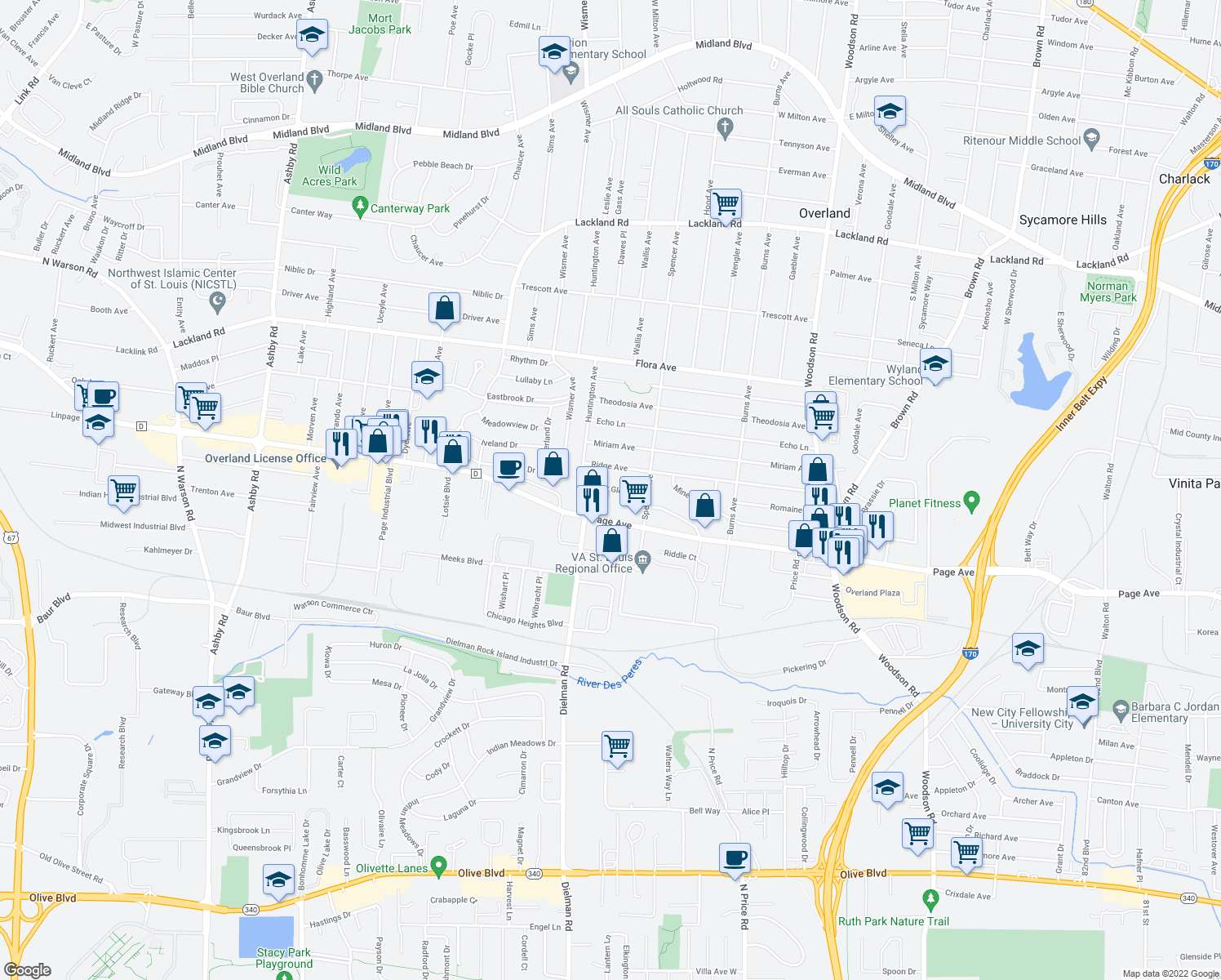 map of restaurants, bars, coffee shops, grocery stores, and more near 1815 Cedar Glen Dr in St Louis