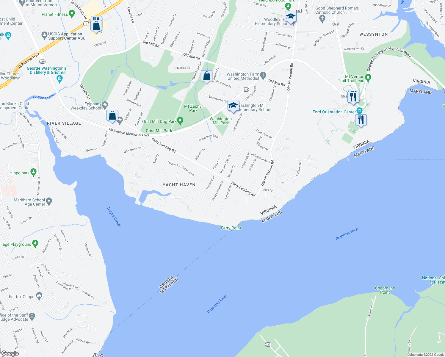 map of restaurants, bars, coffee shops, grocery stores, and more near 4214 Ferry Landing Road in Alexandria