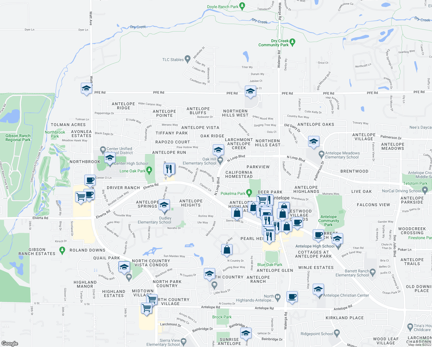 map of restaurants, bars, coffee shops, grocery stores, and more near 8228 Sanderson Ct in Antelope