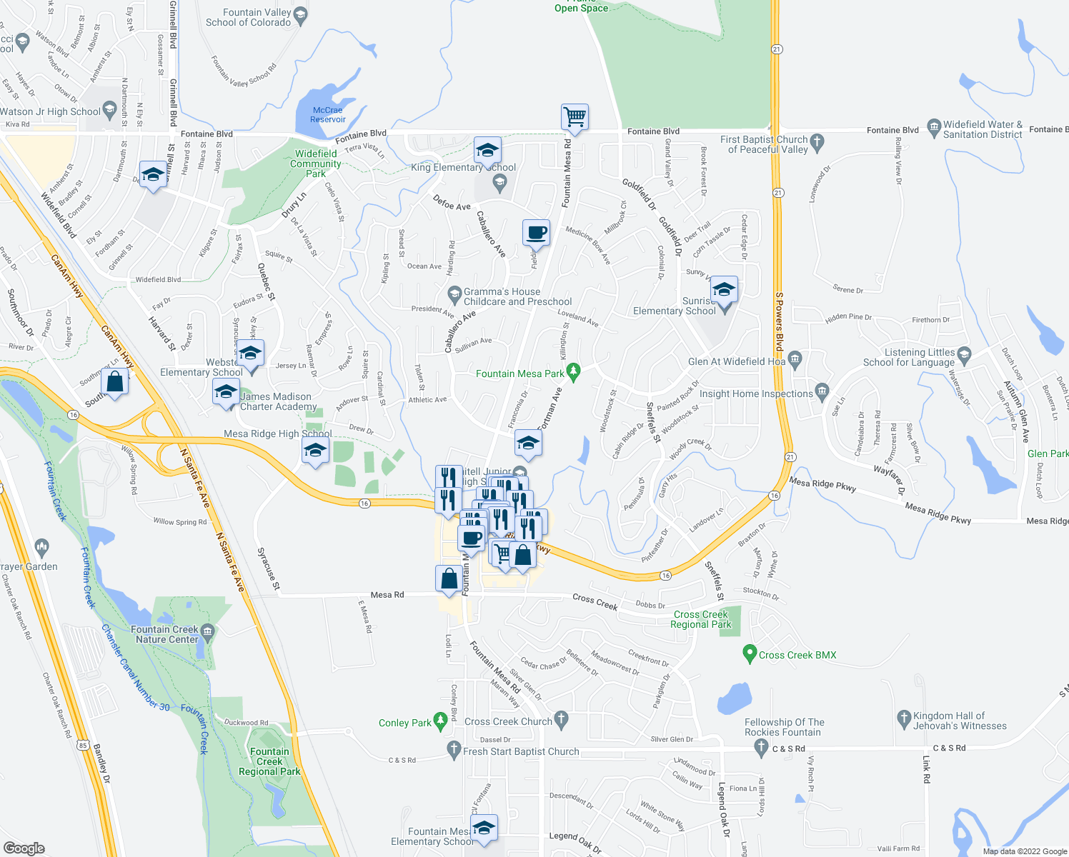 map of restaurants, bars, coffee shops, grocery stores, and more near 7468 Fortman Avenue in Fountain