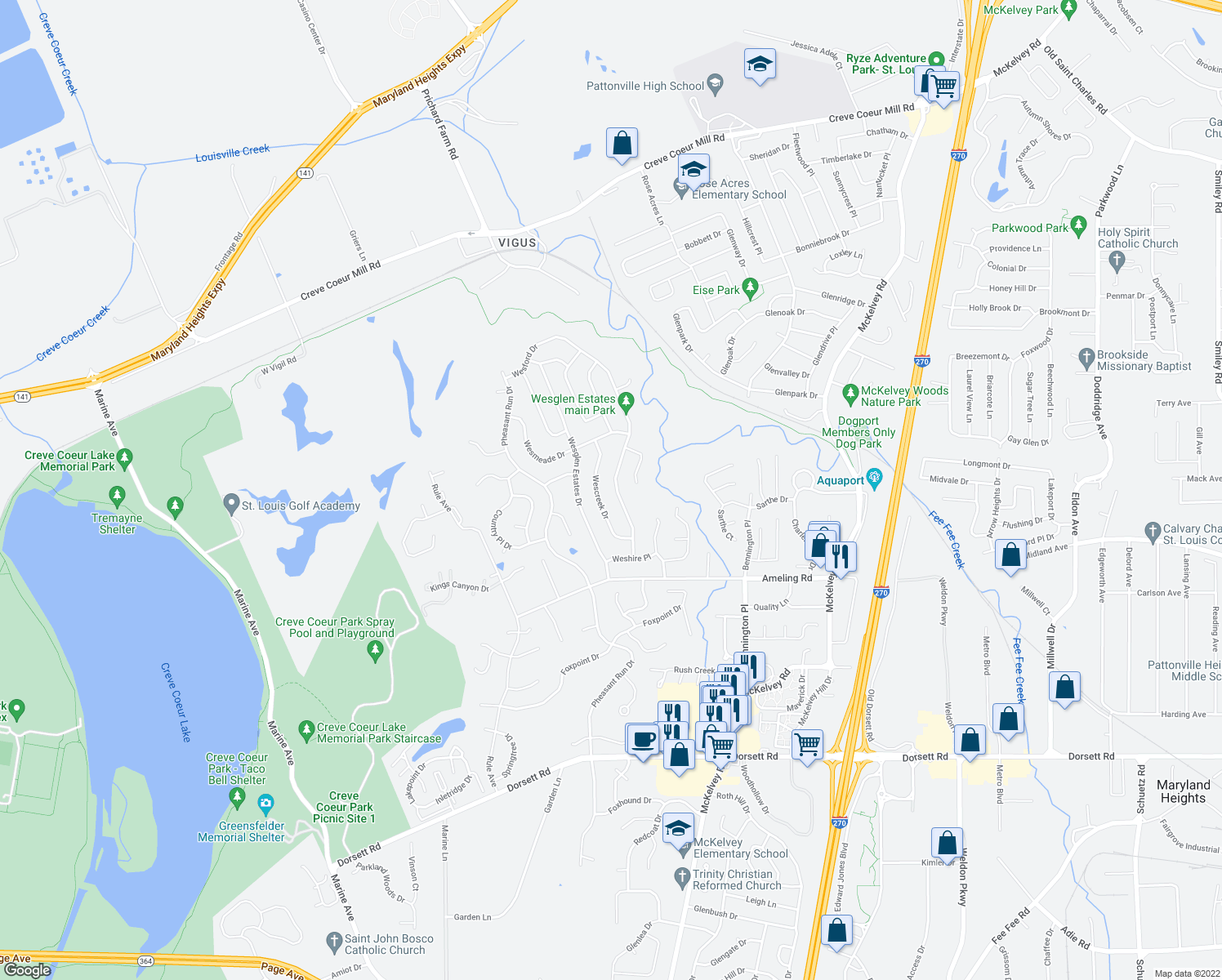 map of restaurants, bars, coffee shops, grocery stores, and more near 2353 Wesford Drive in Maryland Heights