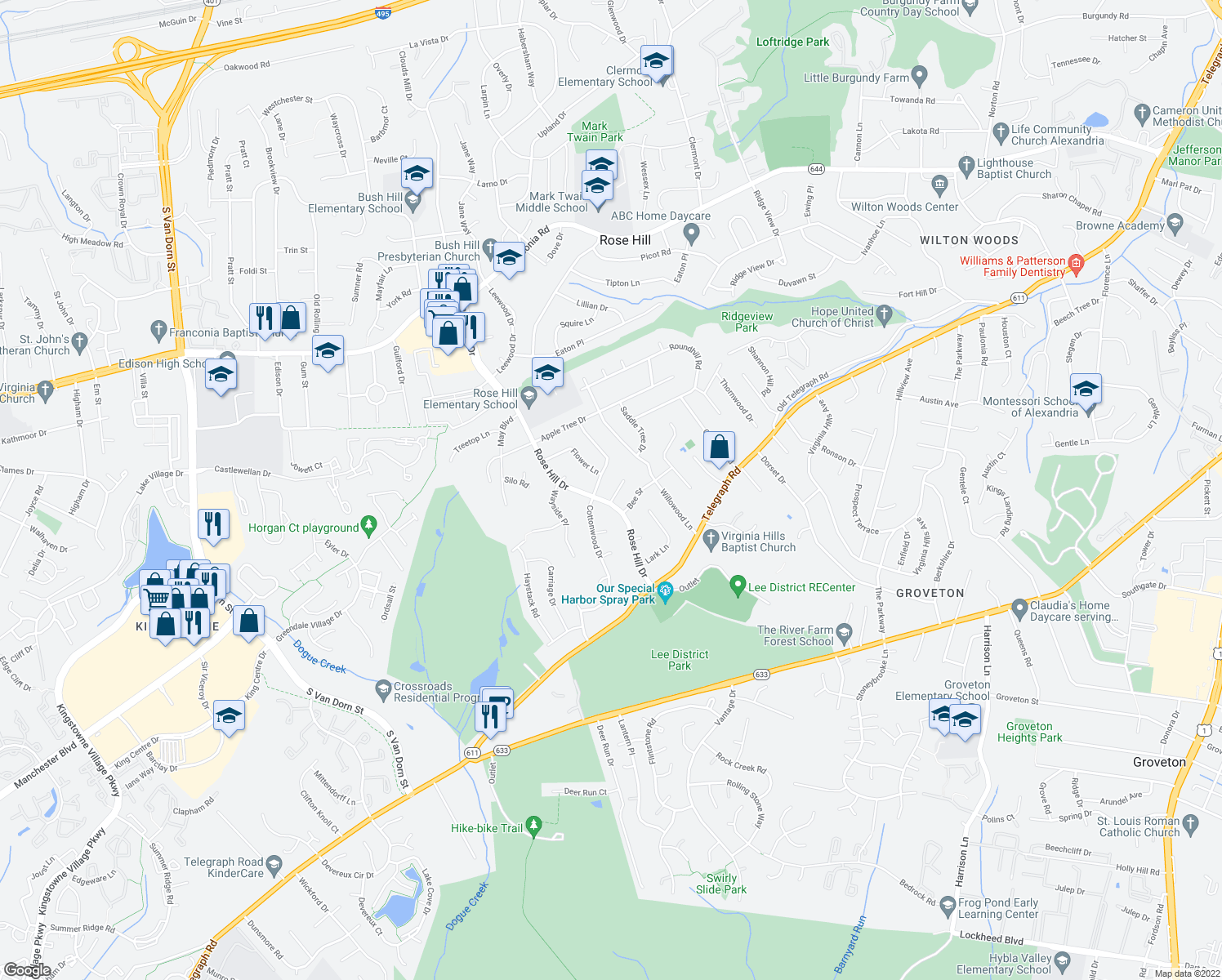 map of restaurants, bars, coffee shops, grocery stores, and more near 6408 Hayfield Place in Alexandria