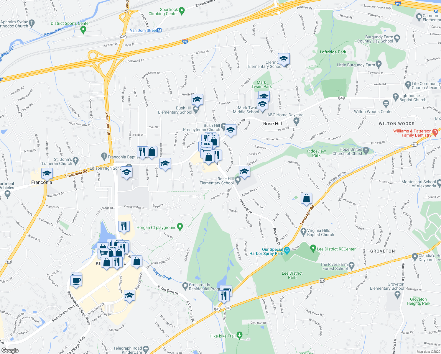map of restaurants, bars, coffee shops, grocery stores, and more near 6201 Rose Hill Falls Way in Alexandria