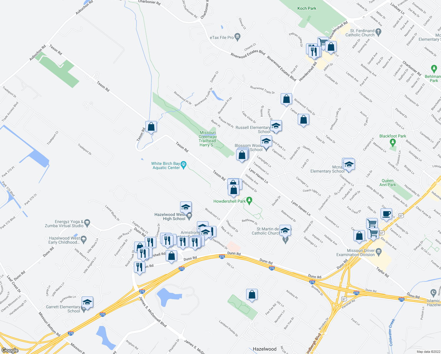 map of restaurants, bars, coffee shops, grocery stores, and more near 1081 Teson Road in Hazelwood