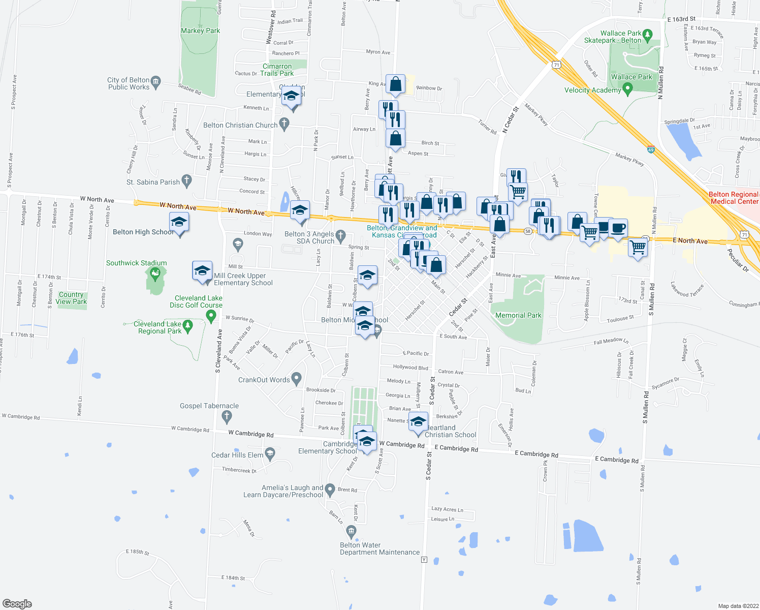 map of restaurants, bars, coffee shops, grocery stores, and more near 134-186 W Walnut St in Belton