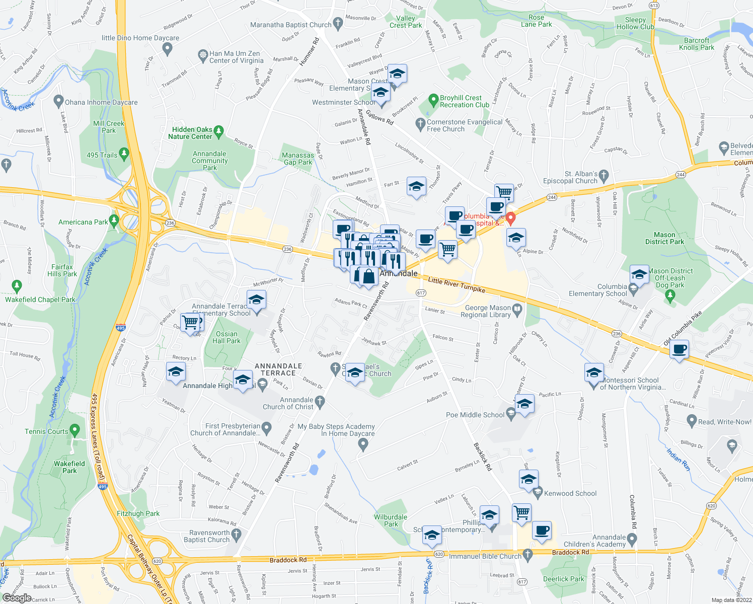 map of restaurants, bars, coffee shops, grocery stores, and more near 7310 McWhorter Place in Annandale