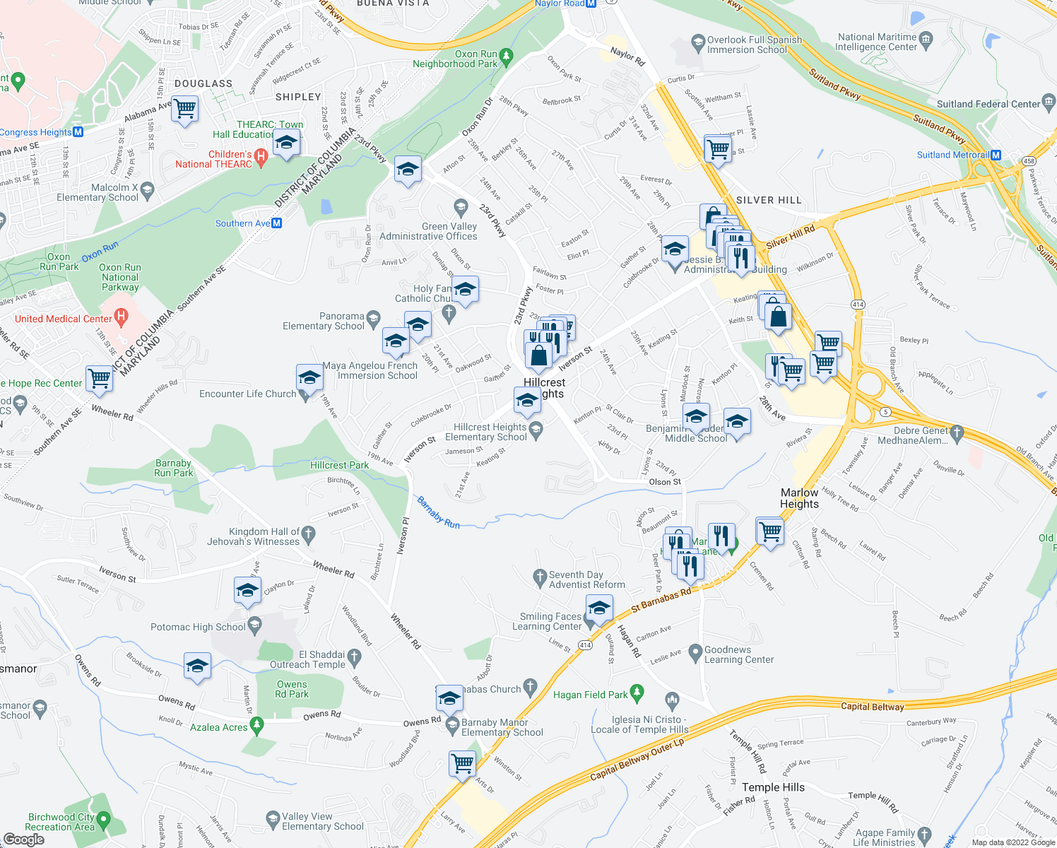 map of restaurants, bars, coffee shops, grocery stores, and more near 2129 Keating Street in Temple Hills
