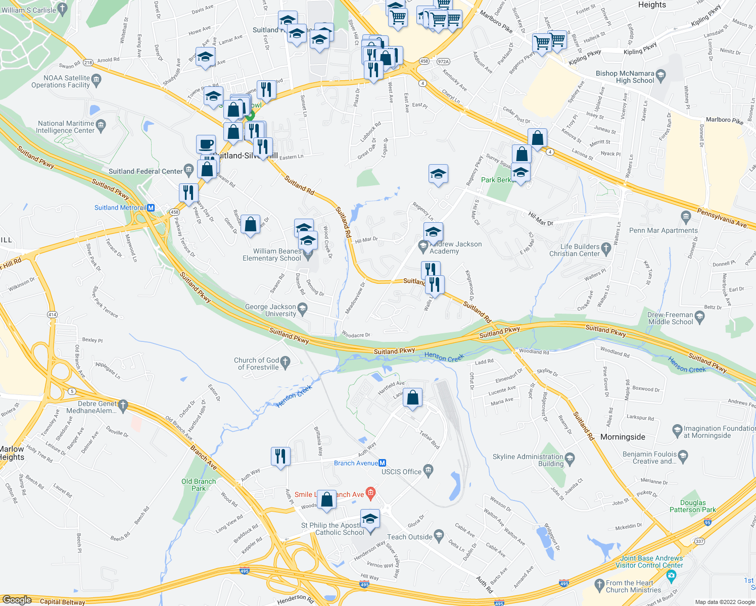map of restaurants, bars, coffee shops, grocery stores, and more near 3803 Regency Parkway in Suitland-Silver Hill