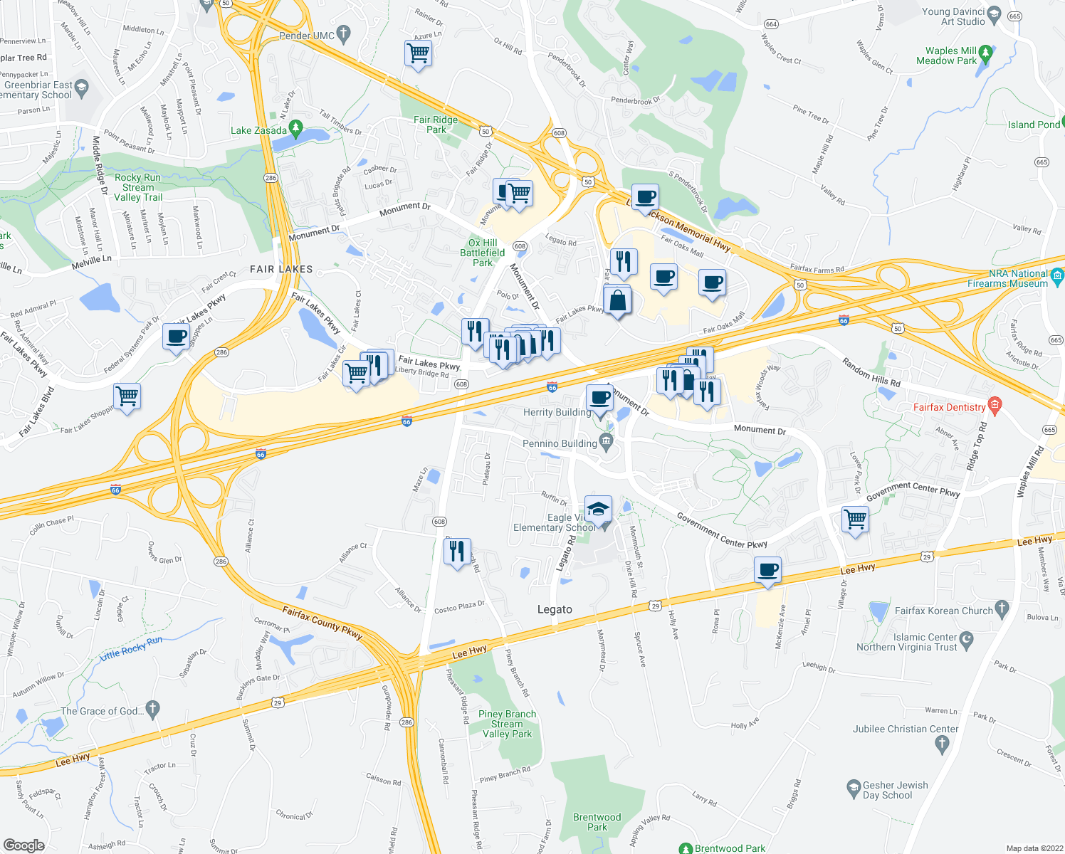 map of restaurants, bars, coffee shops, grocery stores, and more near 4415 Milroy Way in Fairfax