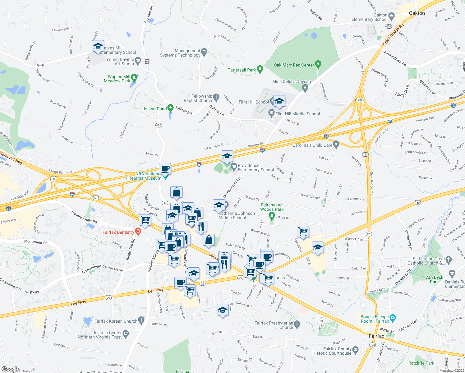 map of restaurants, bars, coffee shops, grocery stores, and more near 3751-3799 Jermantown Road in Fairfax