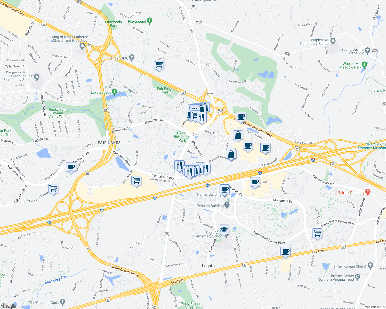 map of restaurants, bars, coffee shops, grocery stores, and more near 12105 Polo Drive in Fairfax