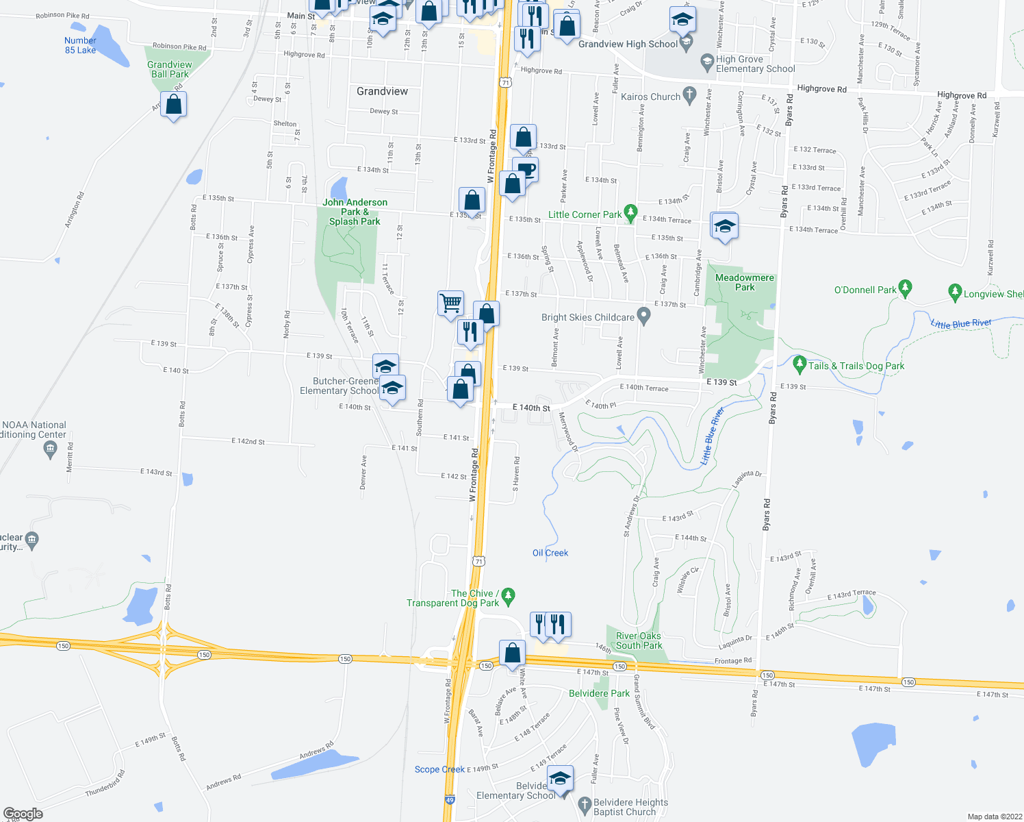 map of restaurants, bars, coffee shops, grocery stores, and more near 14015 Dunbar Court in Grandview