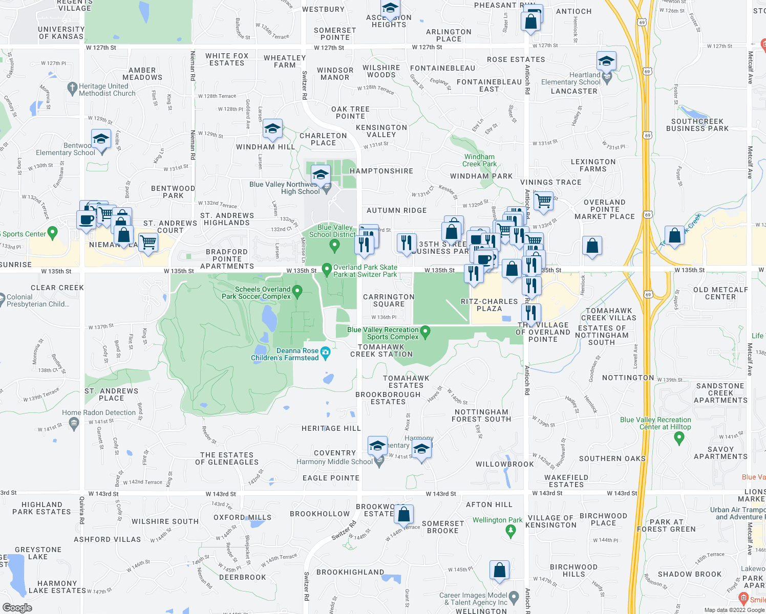map of restaurants, bars, coffee shops, grocery stores, and more near 9801 West 136th Street in Overland Park