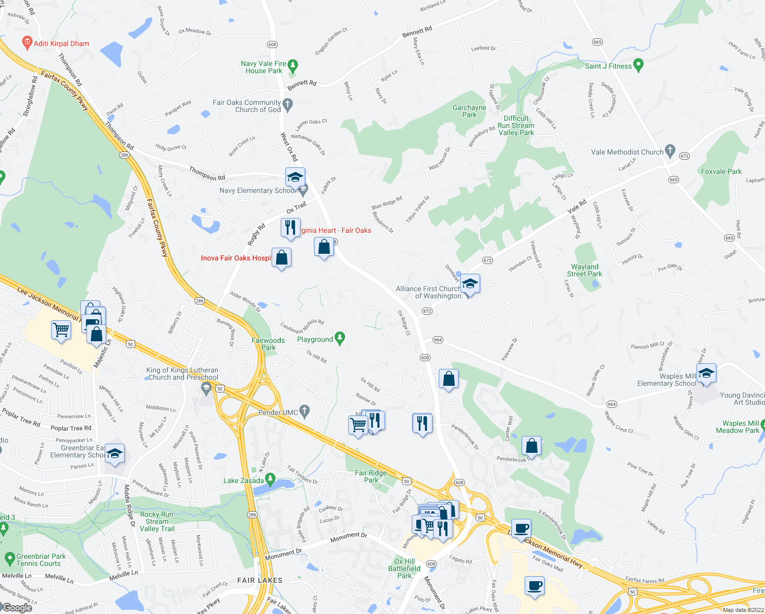map of restaurants, bars, coffee shops, grocery stores, and more near 12360 Washington Brice Rd in Fairfax