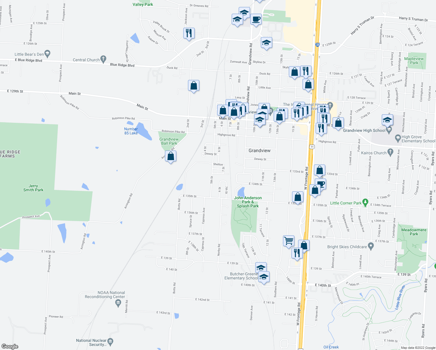 map of restaurants, bars, coffee shops, grocery stores, and more near 601 Deweese St in Grandview