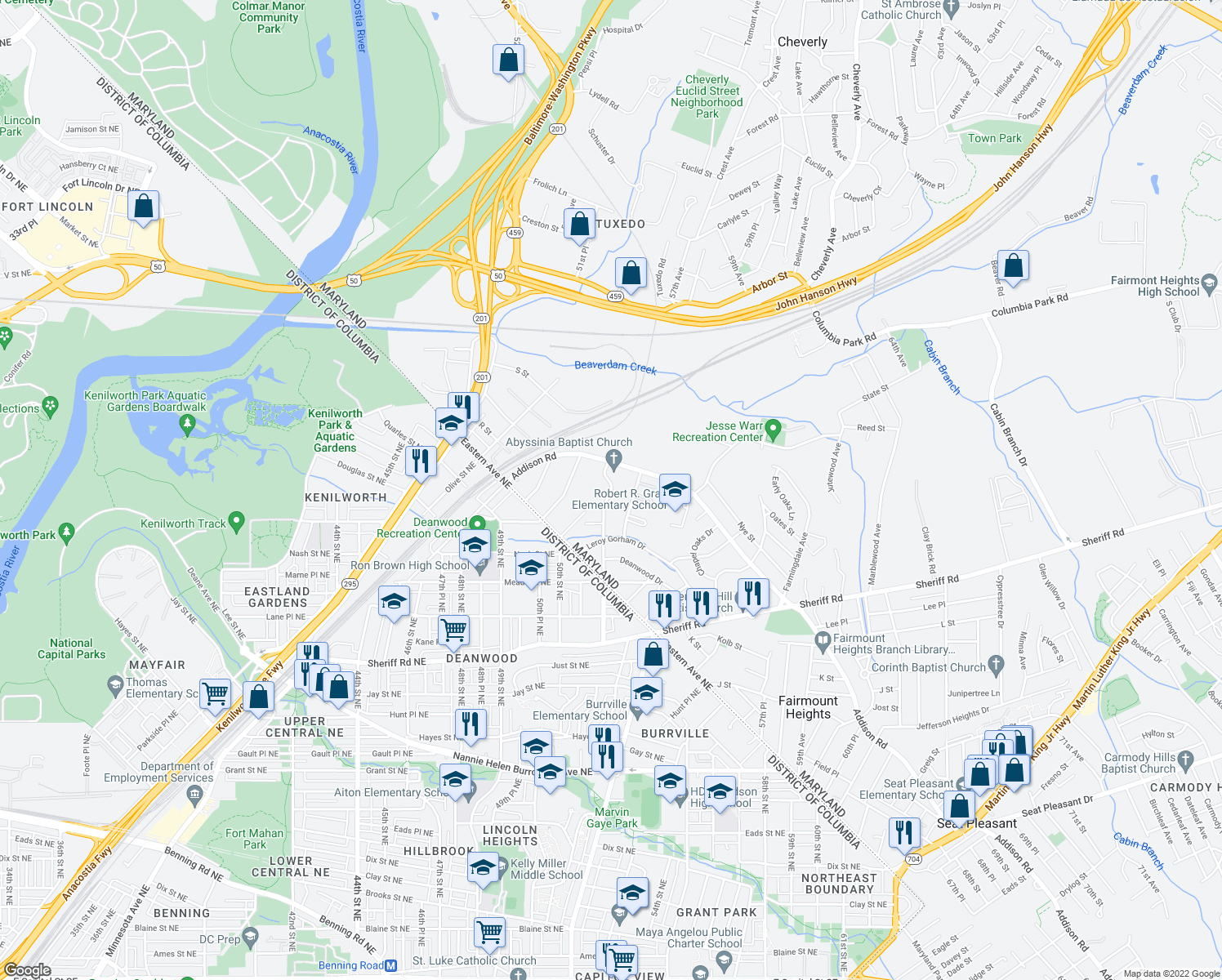 map of restaurants, bars, coffee shops, grocery stores, and more near 1405-1411 Doewood Lane in Capitol Heights