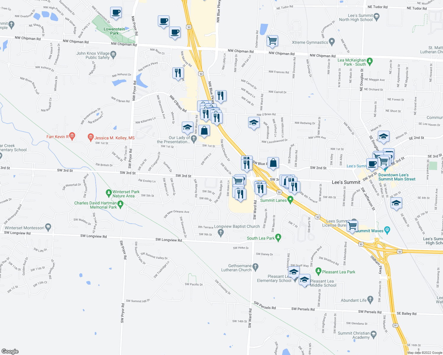 map of restaurants, bars, coffee shops, grocery stores, and more near 1404 SW 3rd St in Lee's Summit