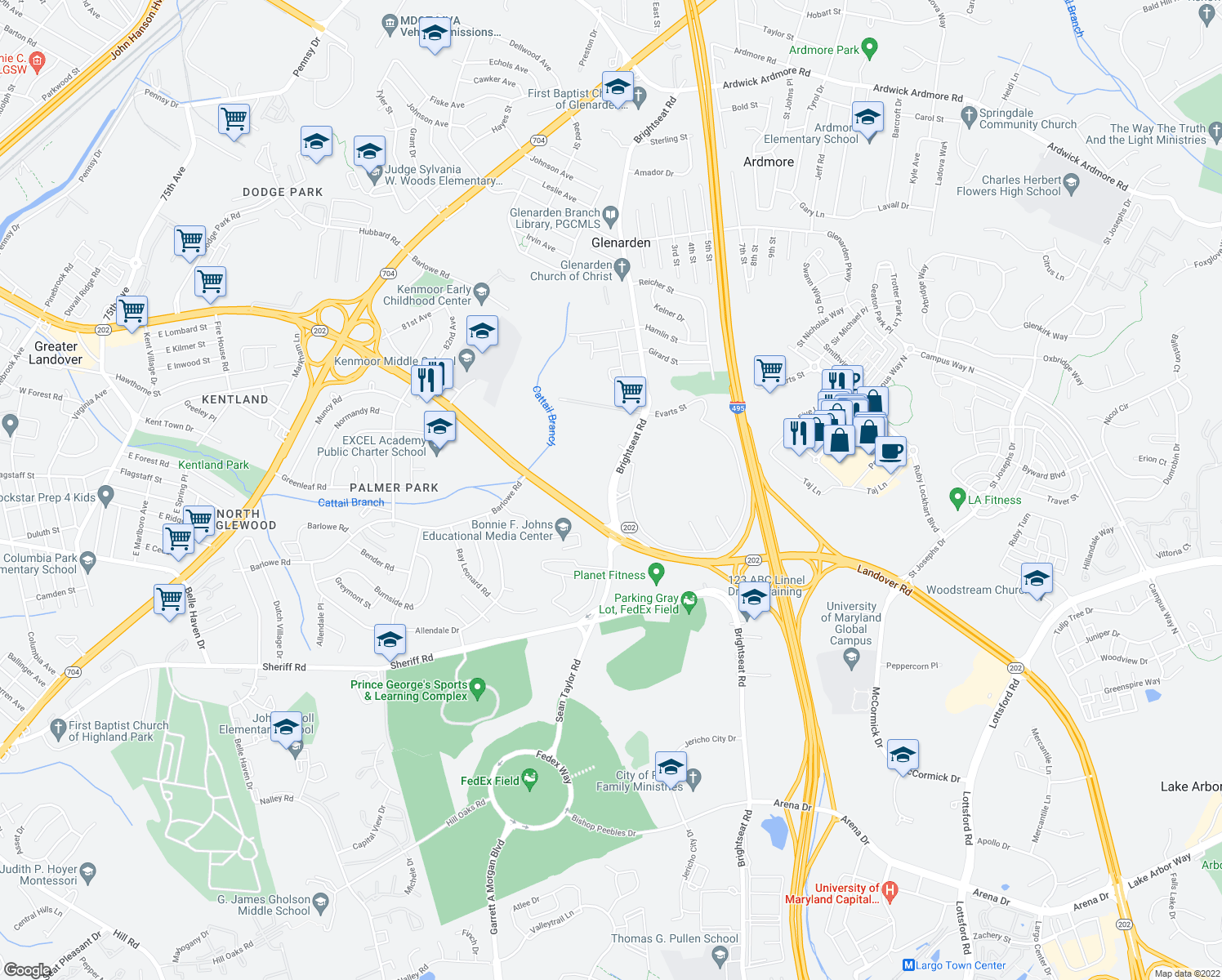 map of restaurants, bars, coffee shops, grocery stores, and more near 2561-2603 Brightseat Road in Hyattsville
