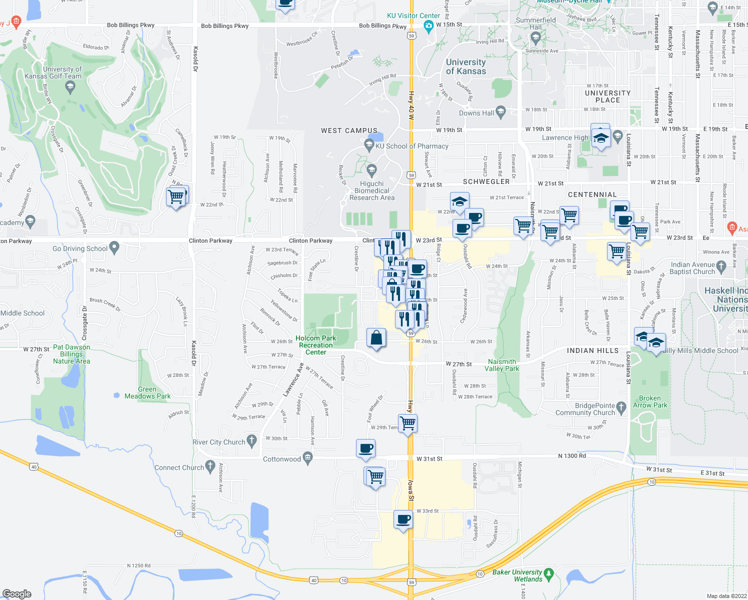 map of restaurants, bars, coffee shops, grocery stores, and more near None in Lawrence