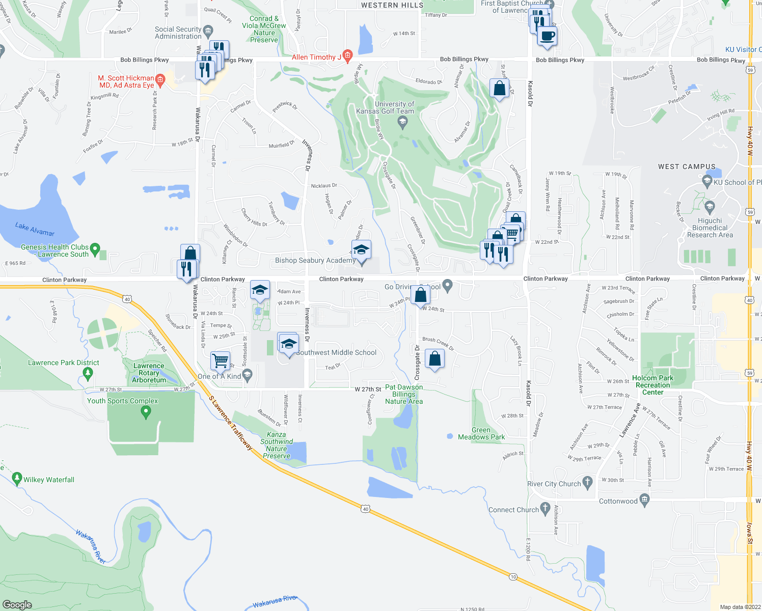 map of restaurants, bars, coffee shops, grocery stores, and more near 4100 West 24th Place in Lawrence