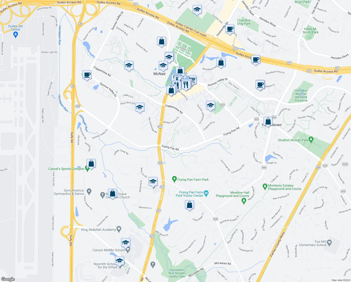 map of restaurants, bars, coffee shops, grocery stores, and more near 13409 Burrough Farm Drive in Herndon