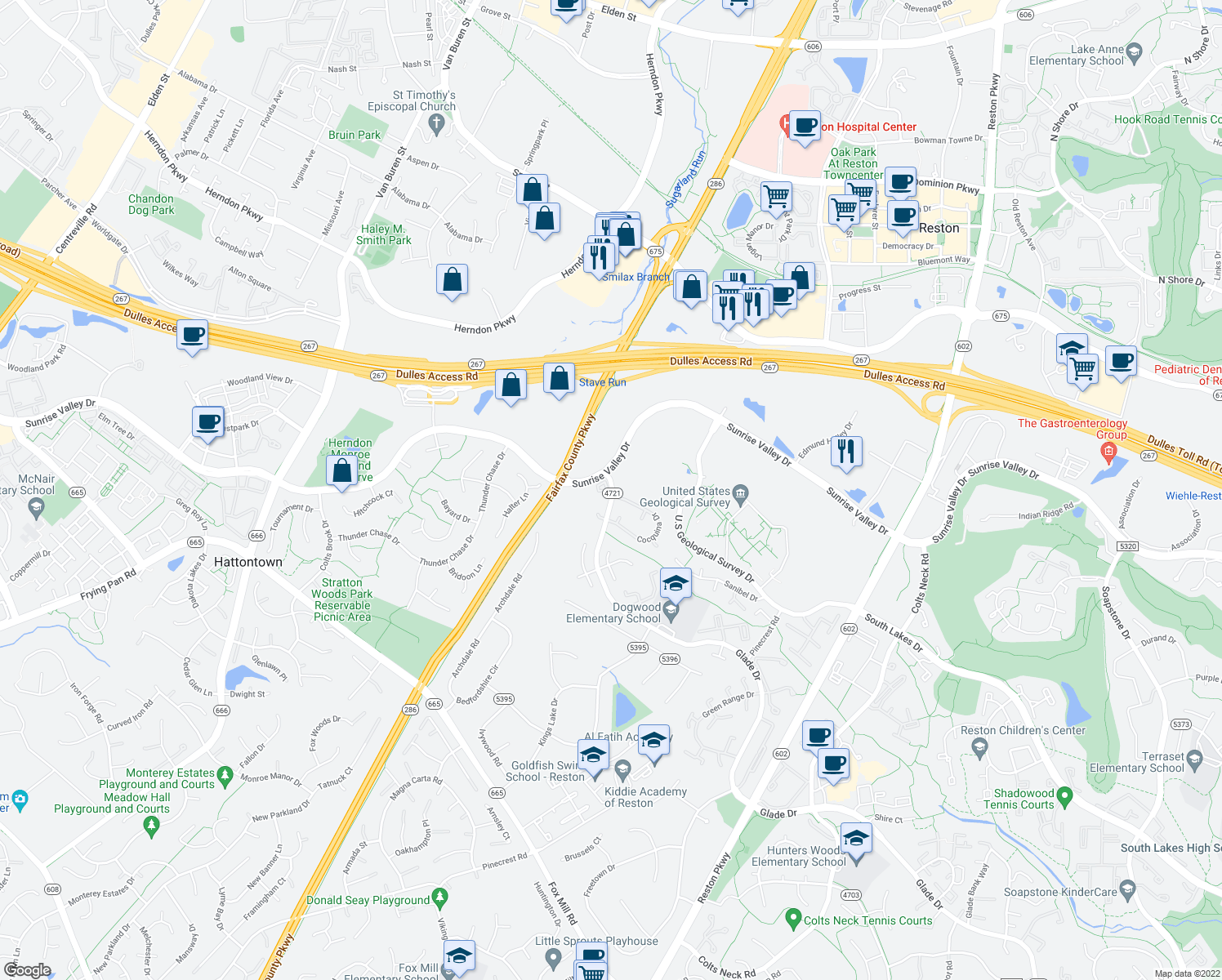 map of restaurants, bars, coffee shops, grocery stores, and more near Glade Drive in Reston
