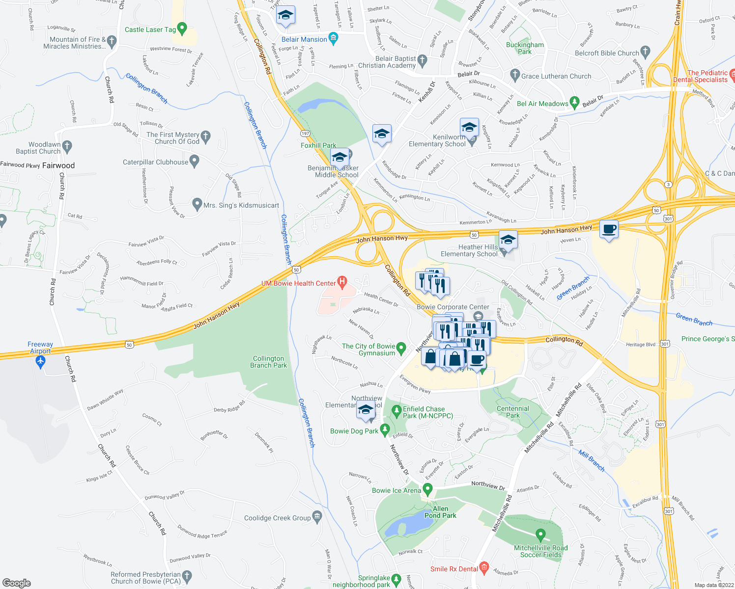 map of restaurants, bars, coffee shops, grocery stores, and more near 15098 Health Center Drive in Bowie