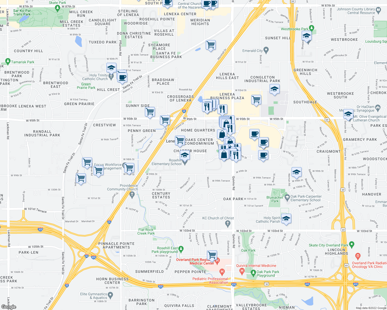 map of restaurants, bars, coffee shops, grocery stores, and more near 12327-12341 West 97th Terrace in Lenexa