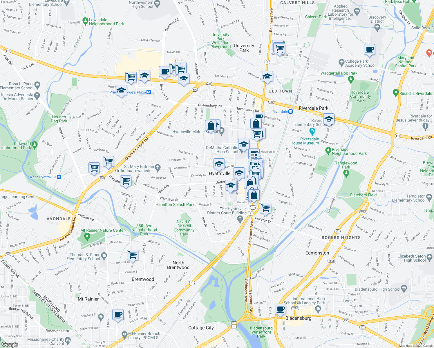map of restaurants, bars, coffee shops, grocery stores, and more near 42nd Ave & Kennedy St in Hyattsville