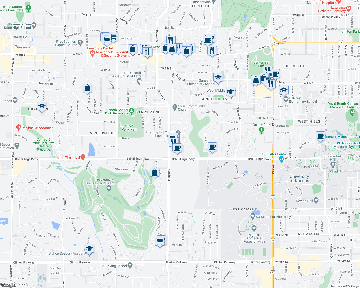 map of restaurants, bars, coffee shops, grocery stores, and more near 1403 Apple Ln in Lawrence