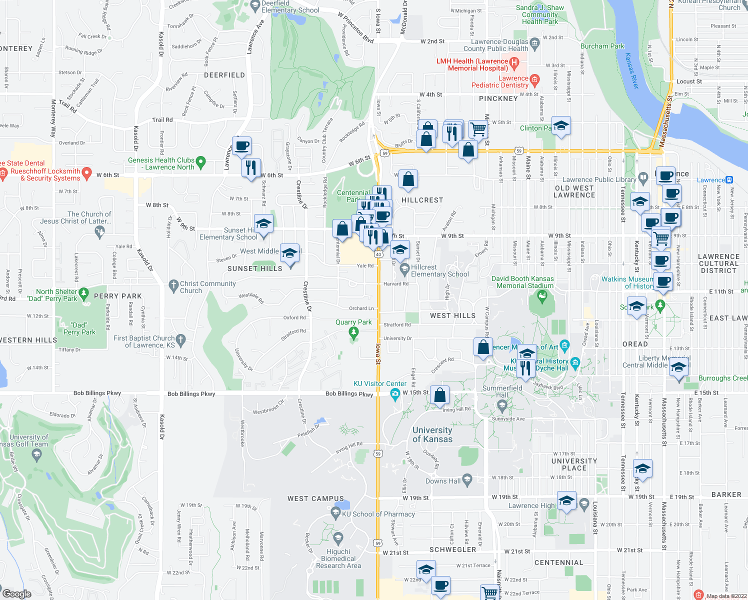map of restaurants, bars, coffee shops, grocery stores, and more near 1127 Iowa Street in Lawrence