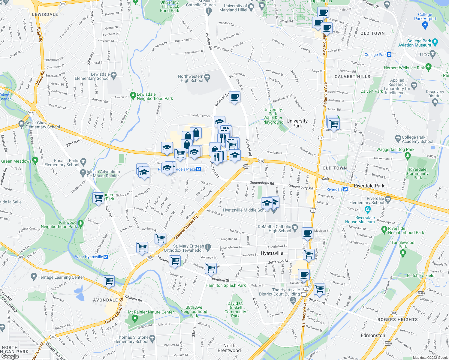 map of restaurants, bars, coffee shops, grocery stores, and more near 6206 Belcrest Road in Hyattsville