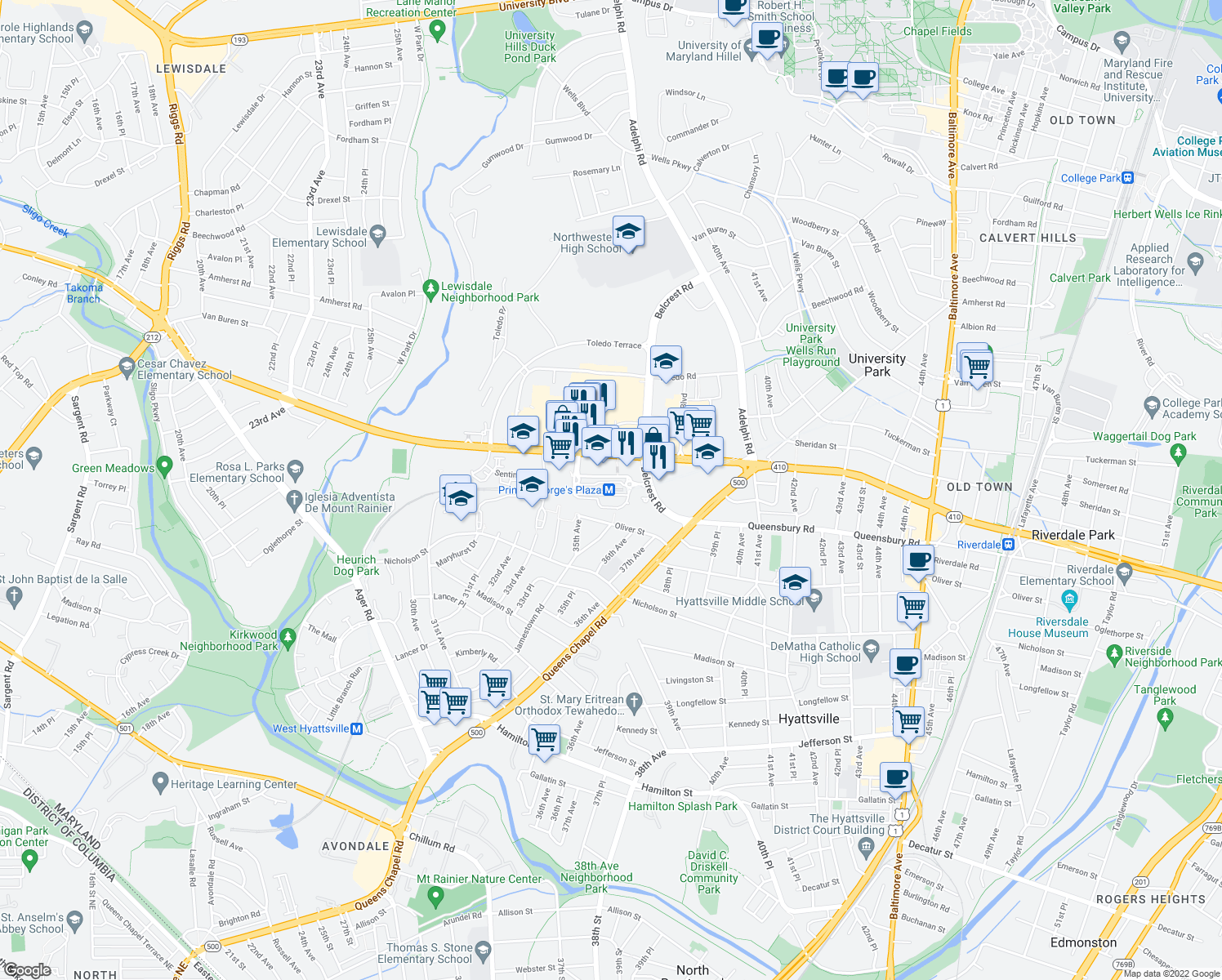 map of restaurants, bars, coffee shops, grocery stores, and more near 2900 Belcrest Center Drive in Hyattsville