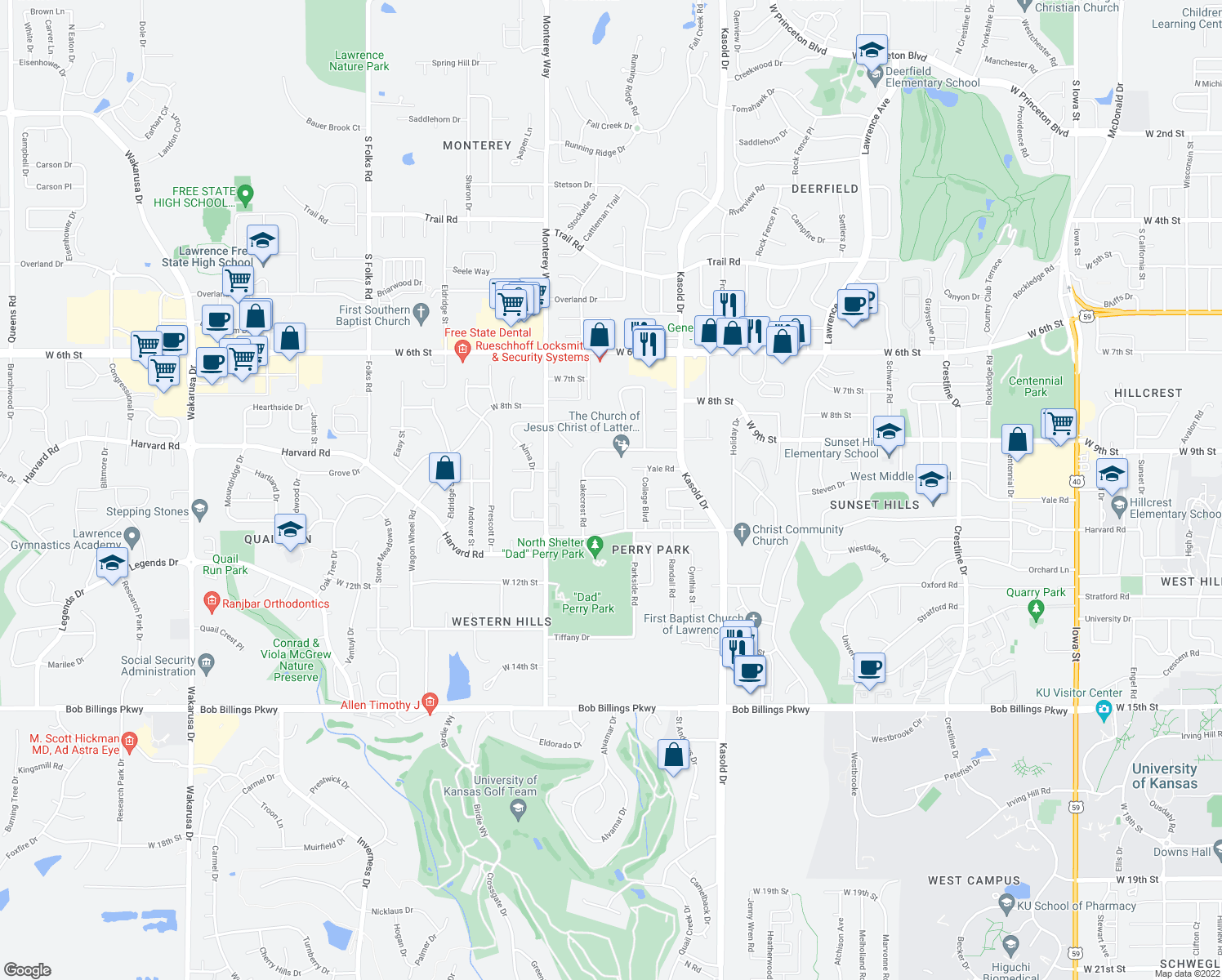 map of restaurants, bars, coffee shops, grocery stores, and more near 3604 Lakecrest Court in Lawrence