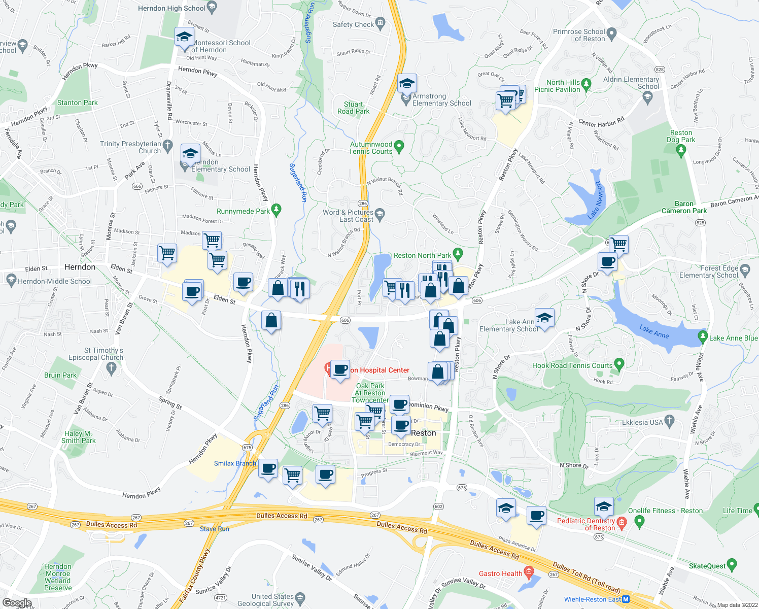 map of restaurants, bars, coffee shops, grocery stores, and more near 12000 Cameron Pond Drive in Reston