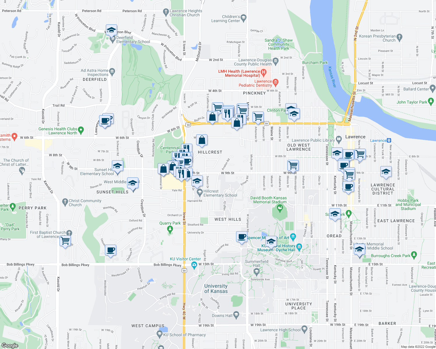 map of restaurants, bars, coffee shops, grocery stores, and more near 905 Avalon Rd in Lawrence
