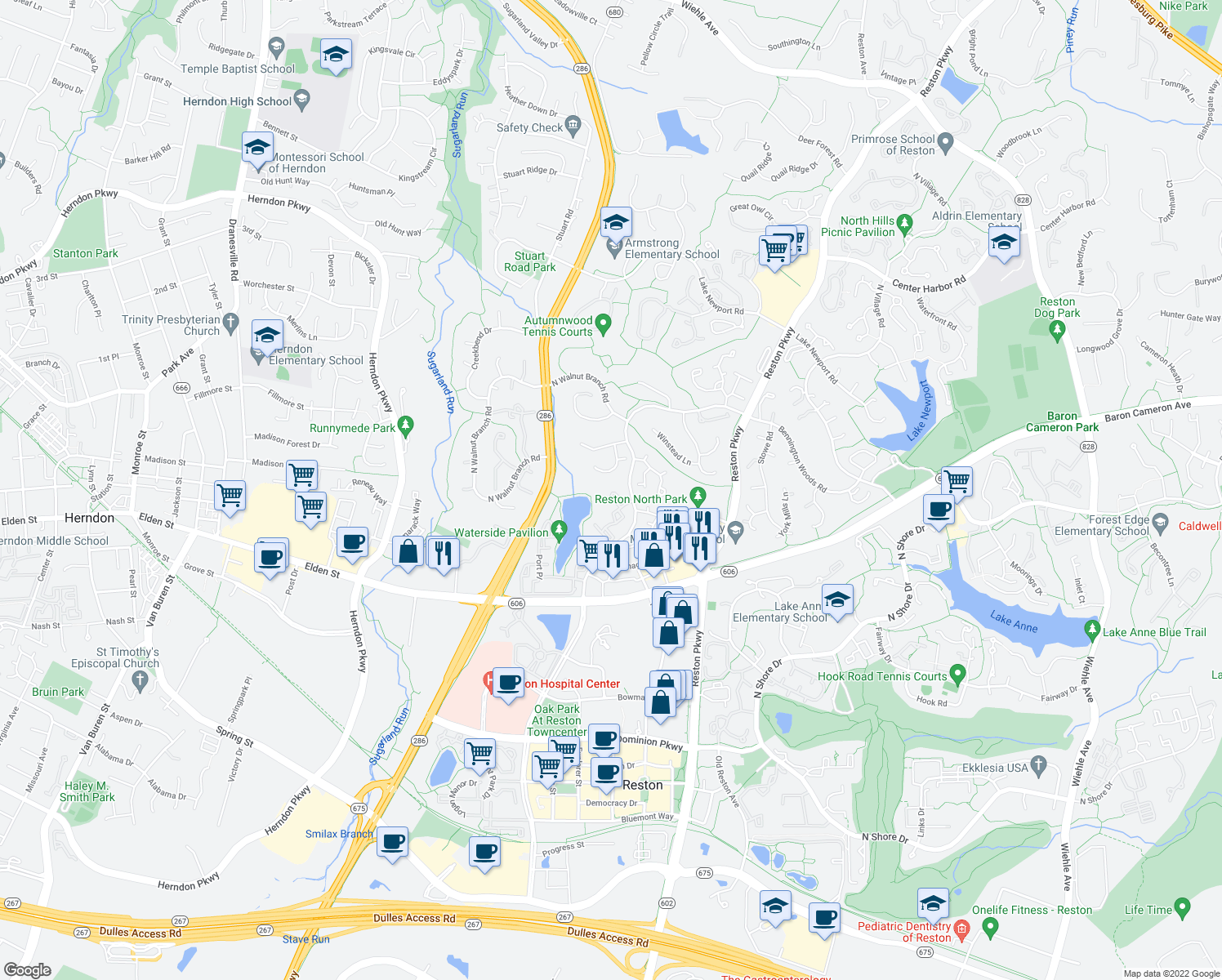 map of restaurants, bars, coffee shops, grocery stores, and more near 12017-12025 Waterside View Dr in Reston