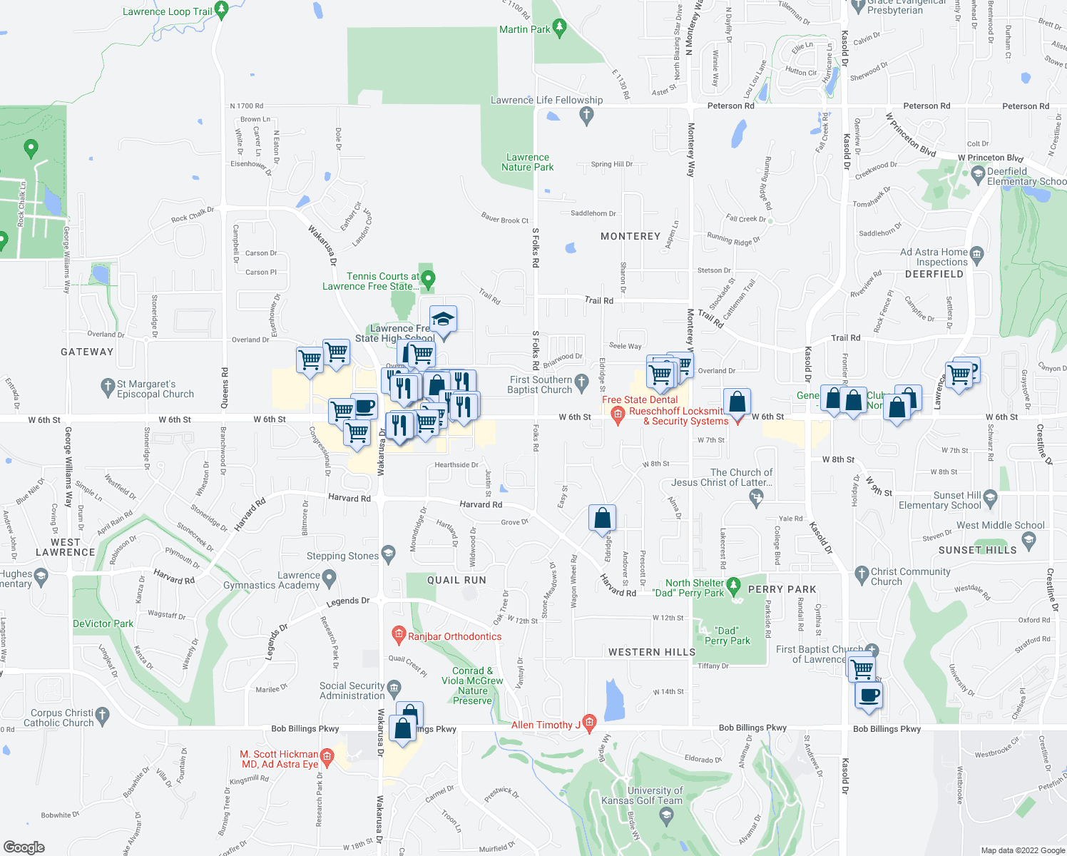map of restaurants, bars, coffee shops, grocery stores, and more near 625 Folks Rd in Lawrence