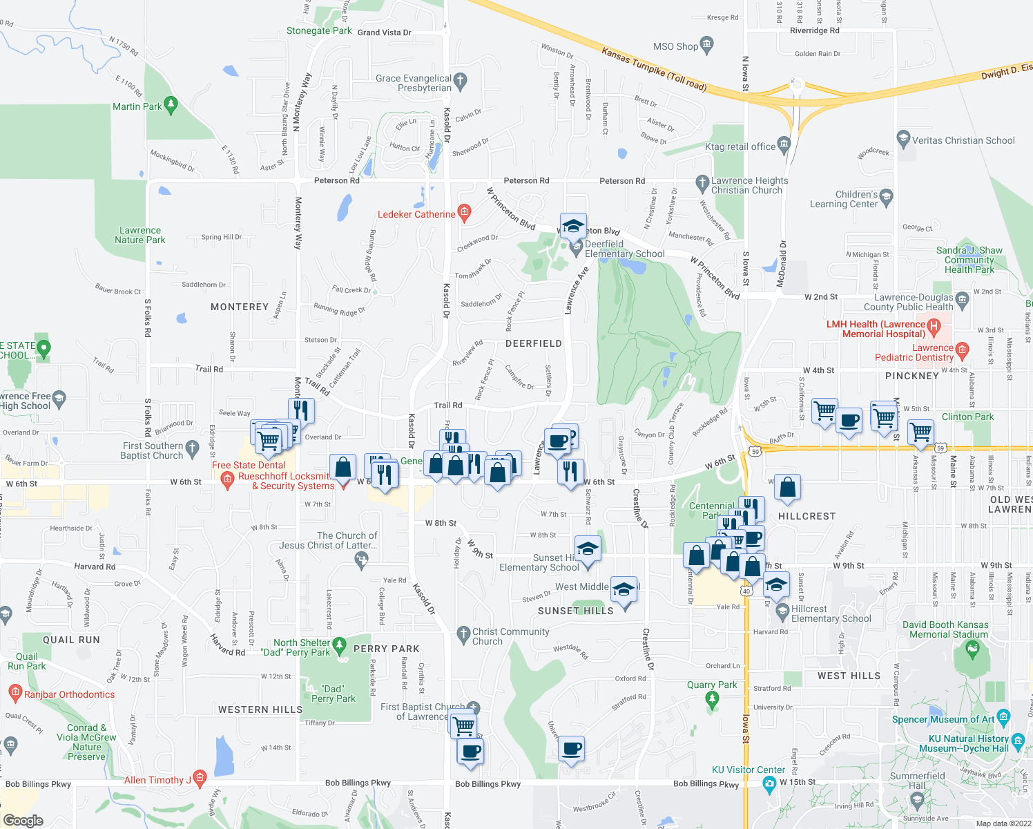 map of restaurants, bars, coffee shops, grocery stores, and more near 502 Millstone Drive in Lawrence
