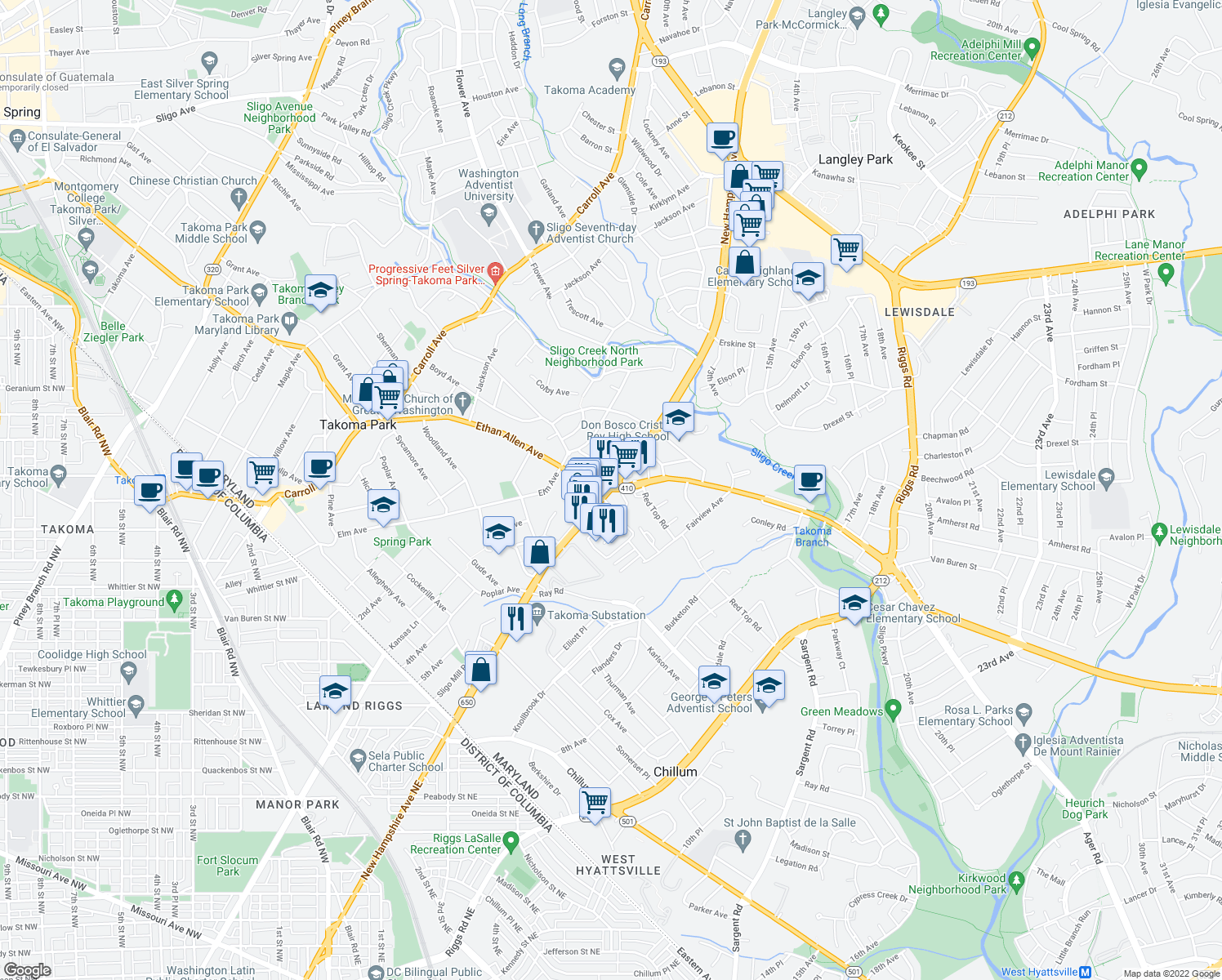 map of restaurants, bars, coffee shops, grocery stores, and more near New Hampshire Ave & E West Hwy in Takoma Park