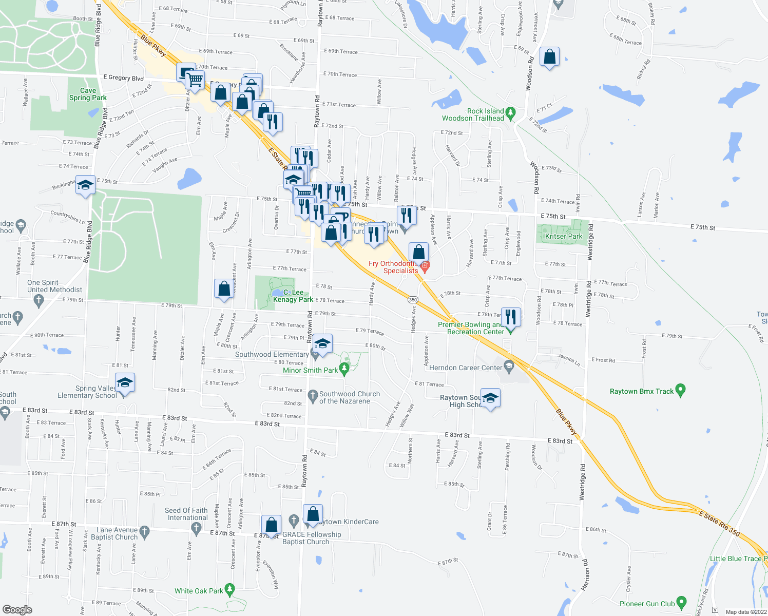 map of restaurants, bars, coffee shops, grocery stores, and more near 10411 E 78th Terrace in Raytown