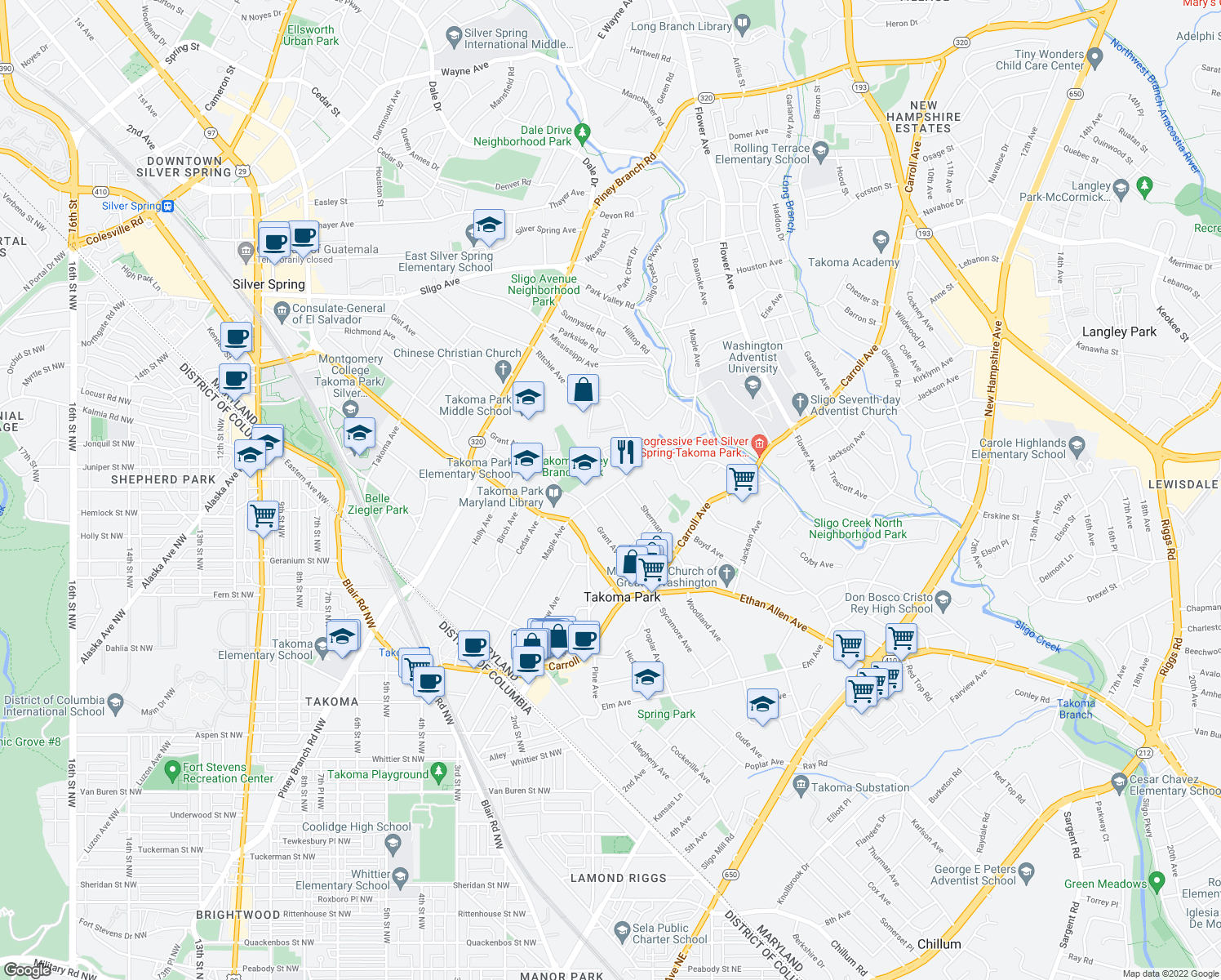 map of restaurants, bars, coffee shops, grocery stores, and more near 7515 Maple Ave in Takoma Park