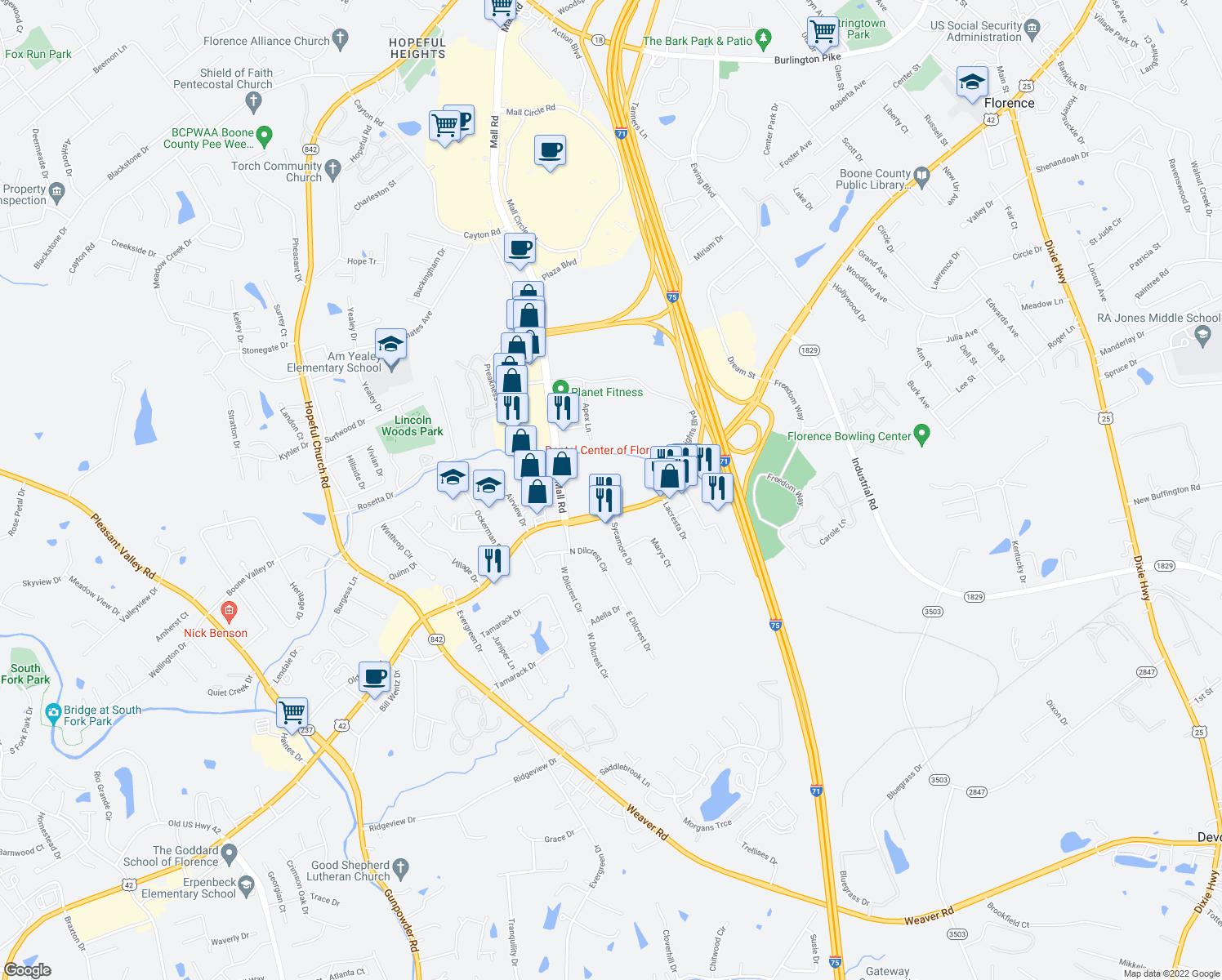map of restaurants, bars, coffee shops, grocery stores, and more near 8120 Diane Drive in Florence