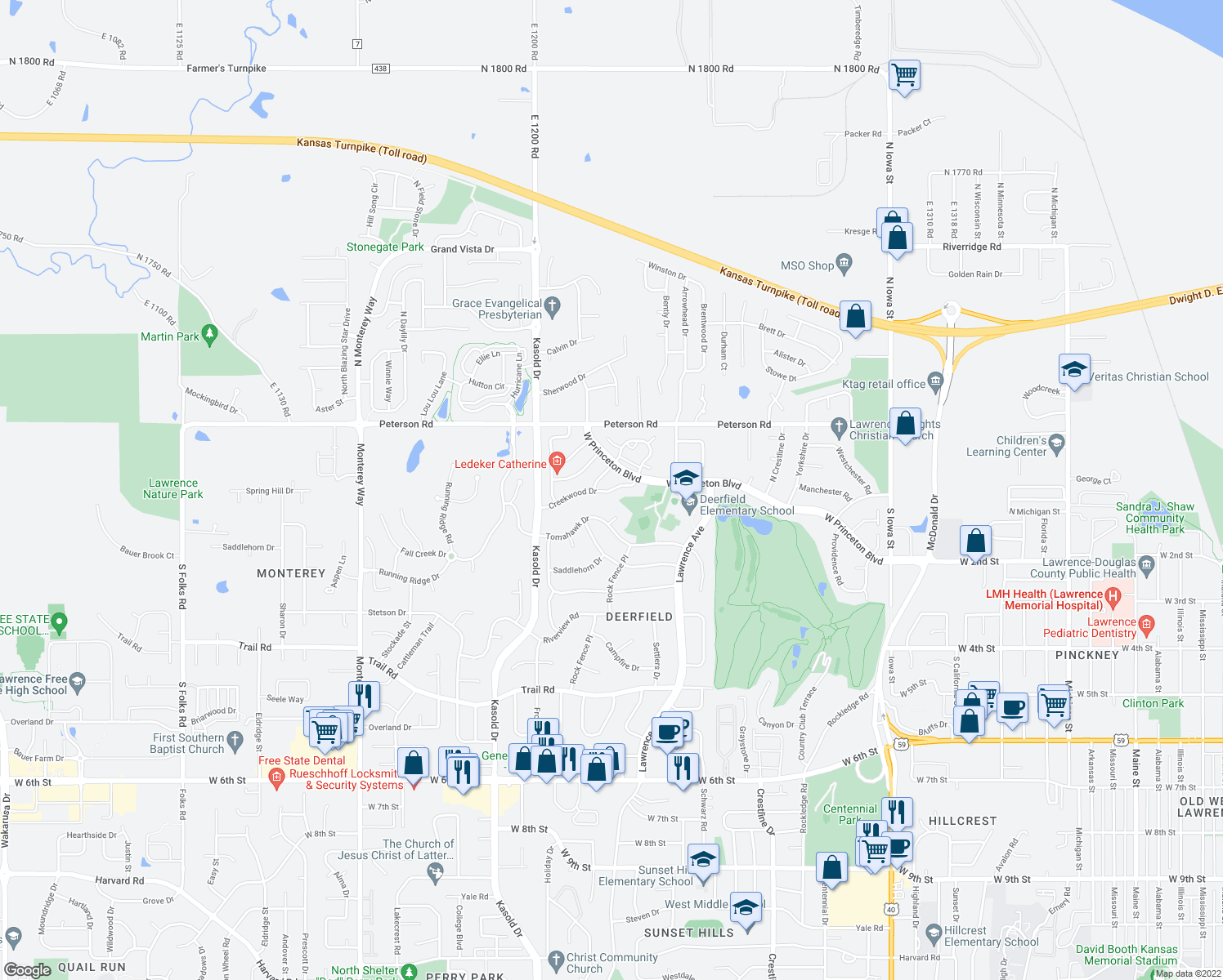 map of restaurants, bars, coffee shops, grocery stores, and more near Creekwood Drive in Lawrence