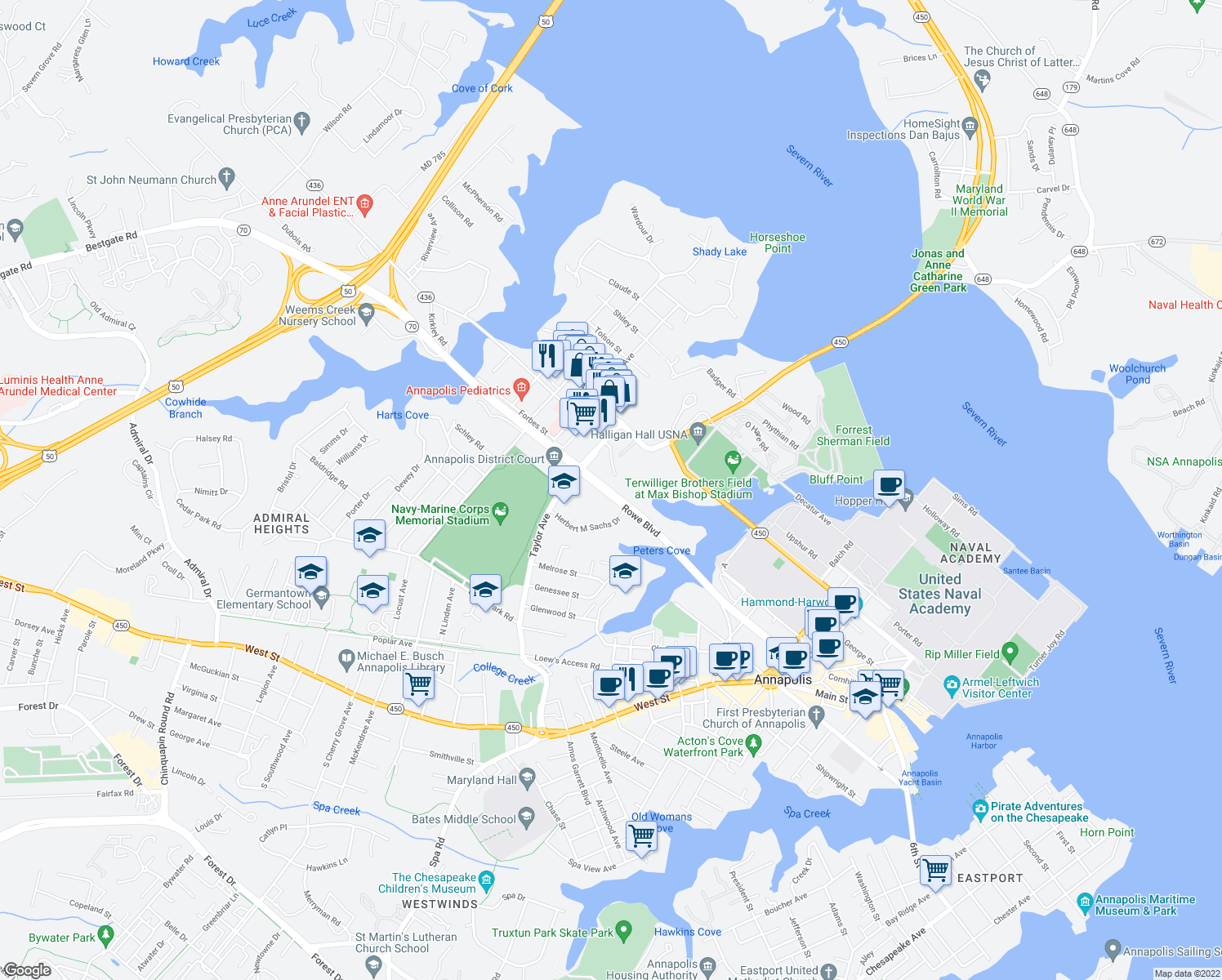 map of restaurants, bars, coffee shops, grocery stores, and more near 361 Rowe Boulevard in Annapolis