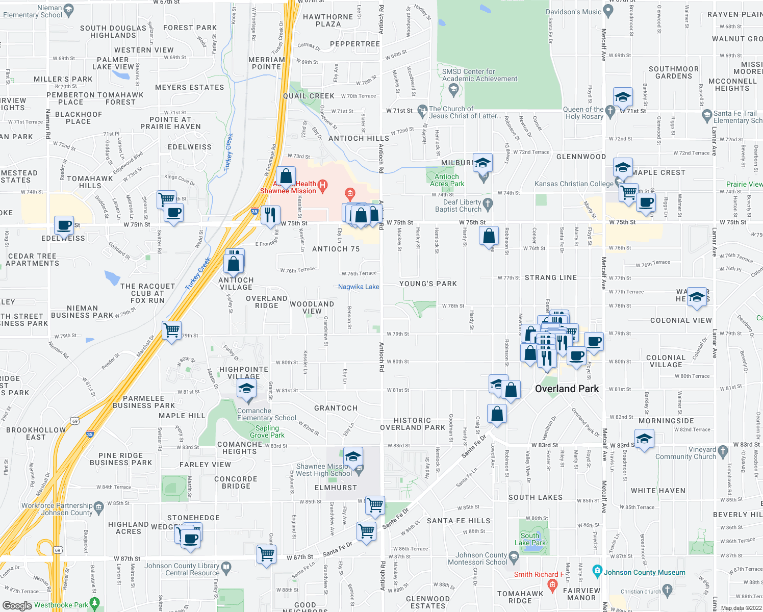 map of restaurants, bars, coffee shops, grocery stores, and more near Antioch Rd & W 78th St in Overland Park
