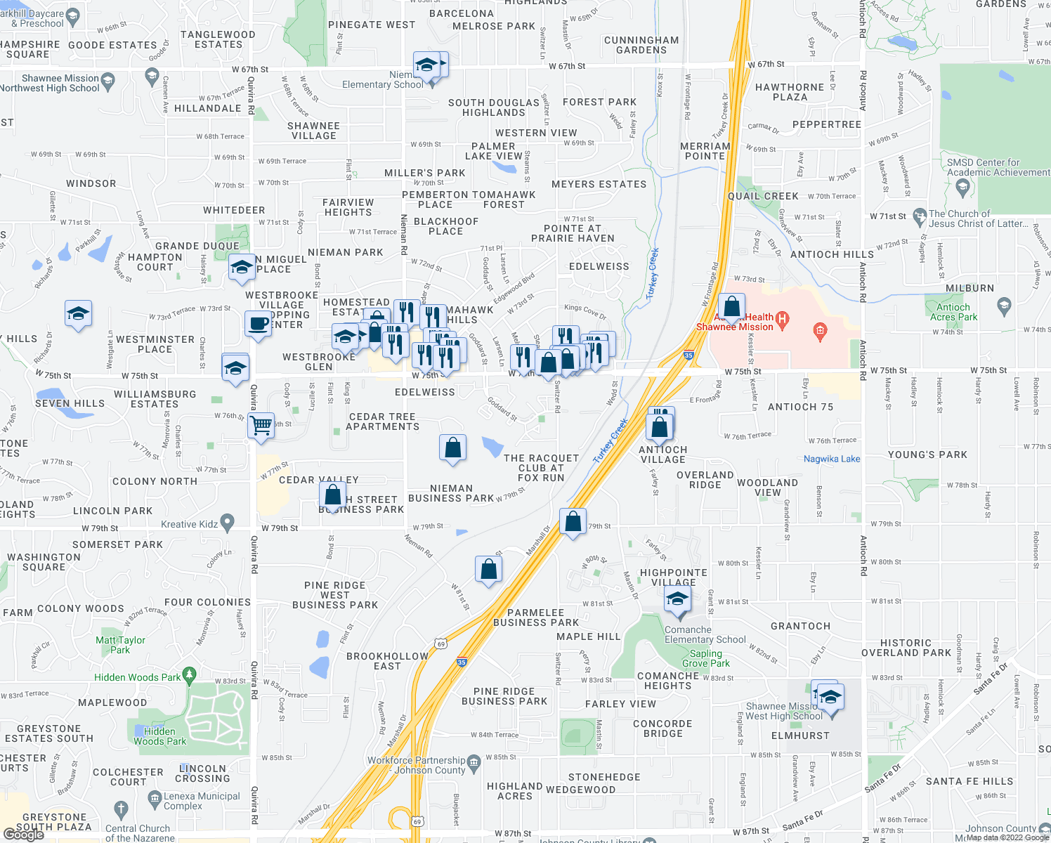 map of restaurants, bars, coffee shops, grocery stores, and more near Goddard Avenue in Shawnee
