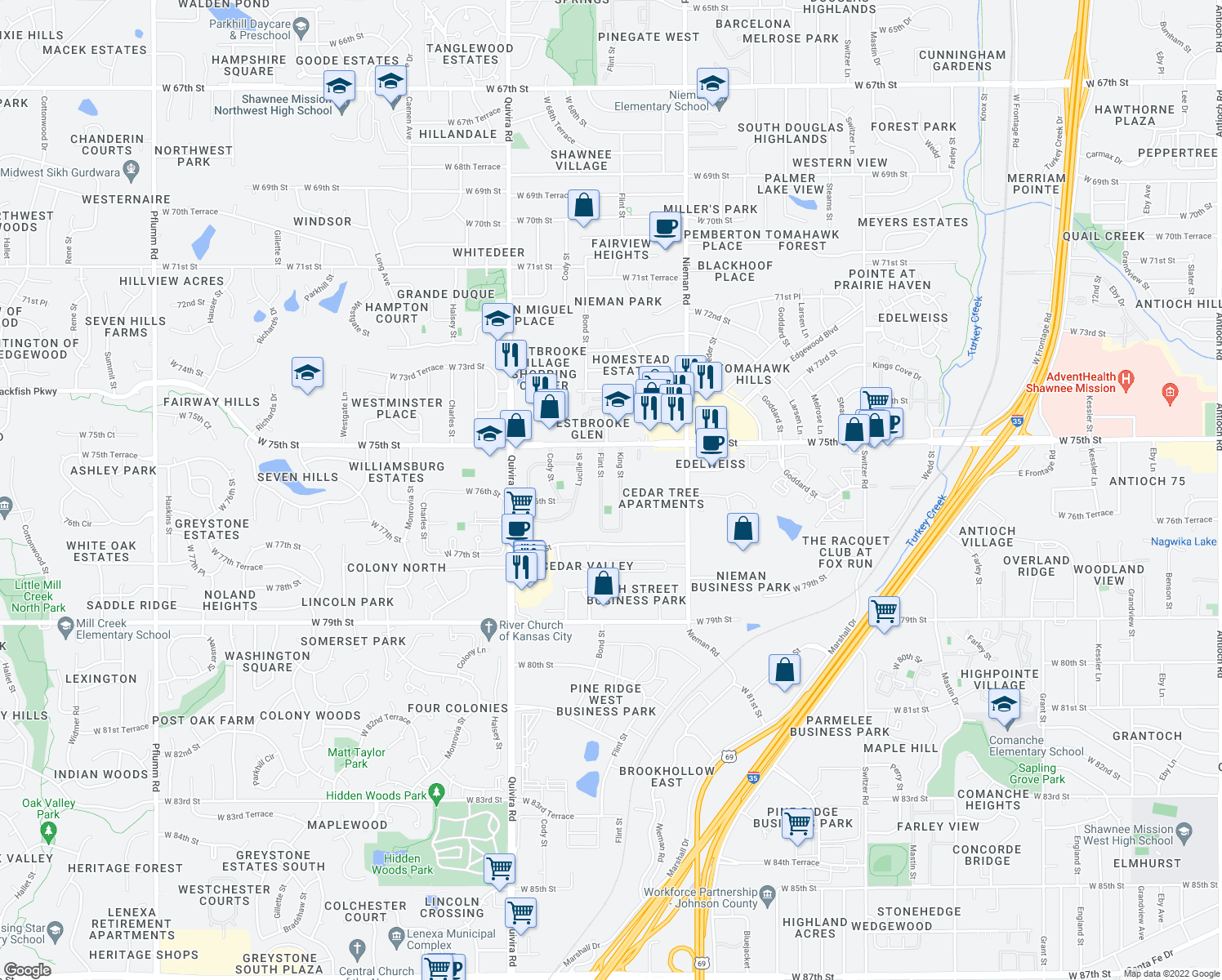 map of restaurants, bars, coffee shops, grocery stores, and more near 7613 Flint Street in Overland Park